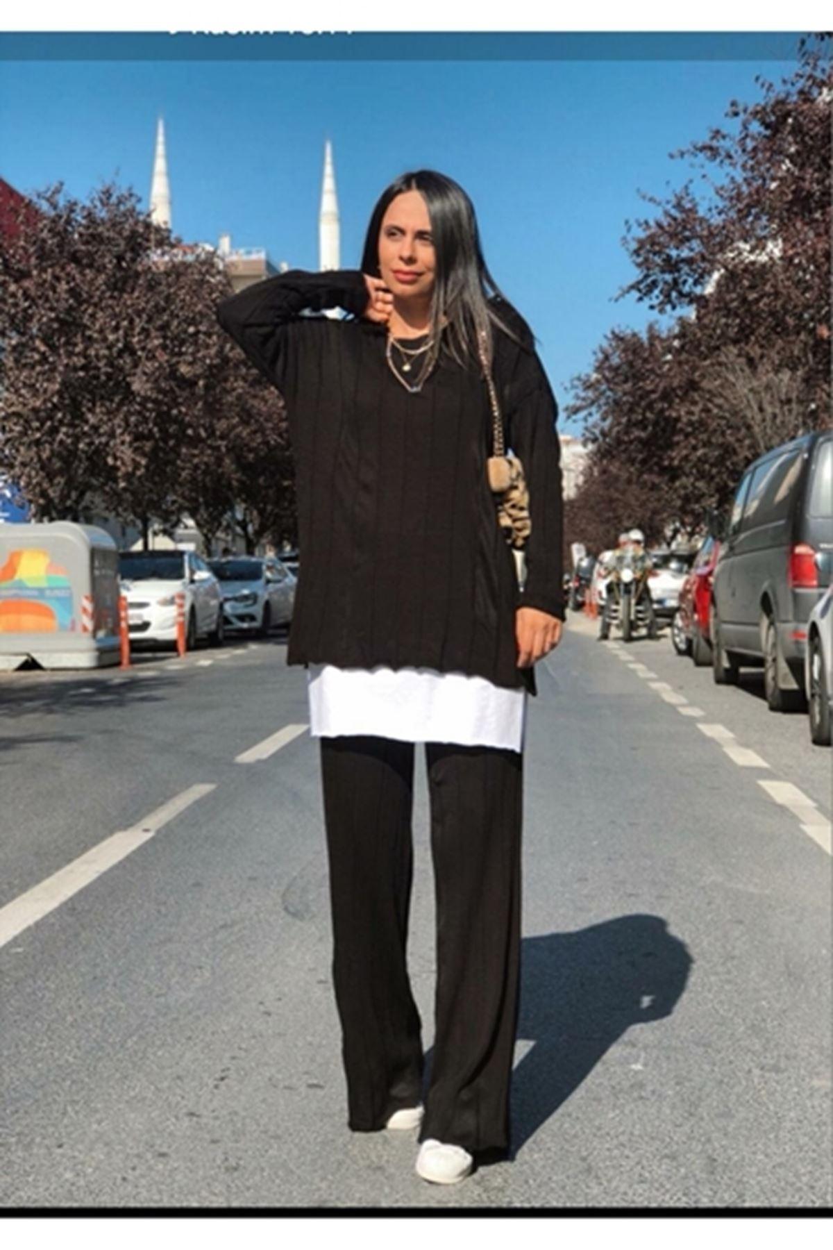 Boru paça pantolonlu takım SİYAH