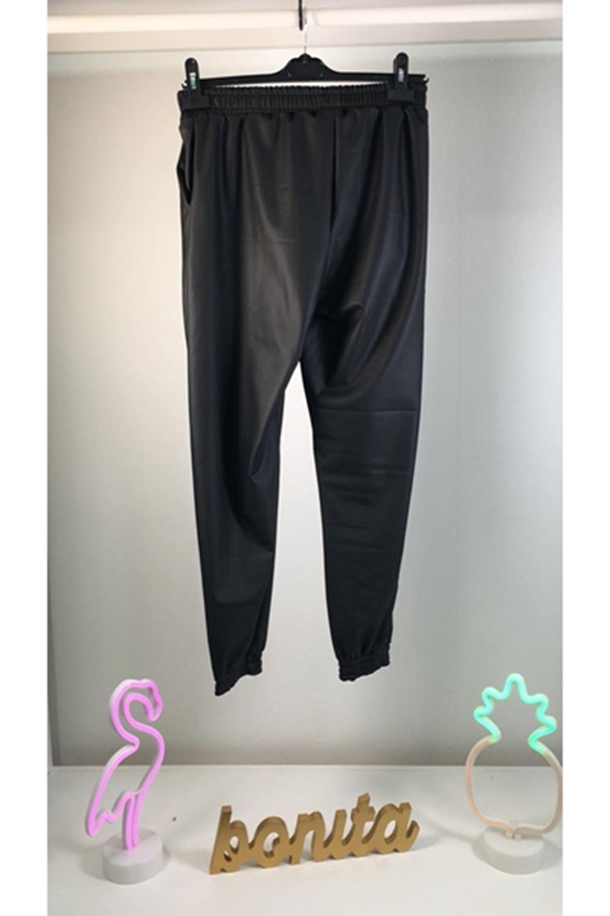Zara şardonlu deri pantolon SİYAH