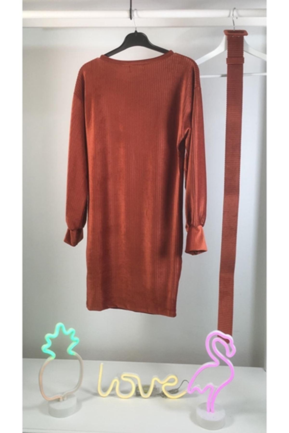 İthal Kadife Kemerli Elbise M17 KİREMİT