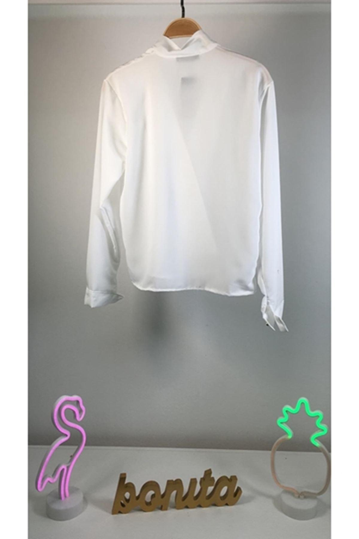 Boyun bağlamalı tasarım gömlek BEYAZ