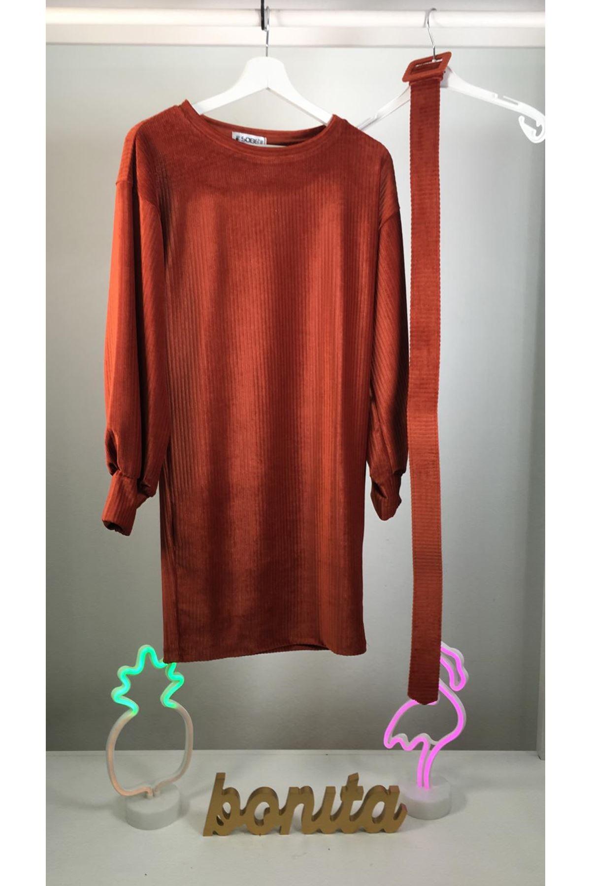 İthal Kadife Kemerli Elbise M17 ORANJ