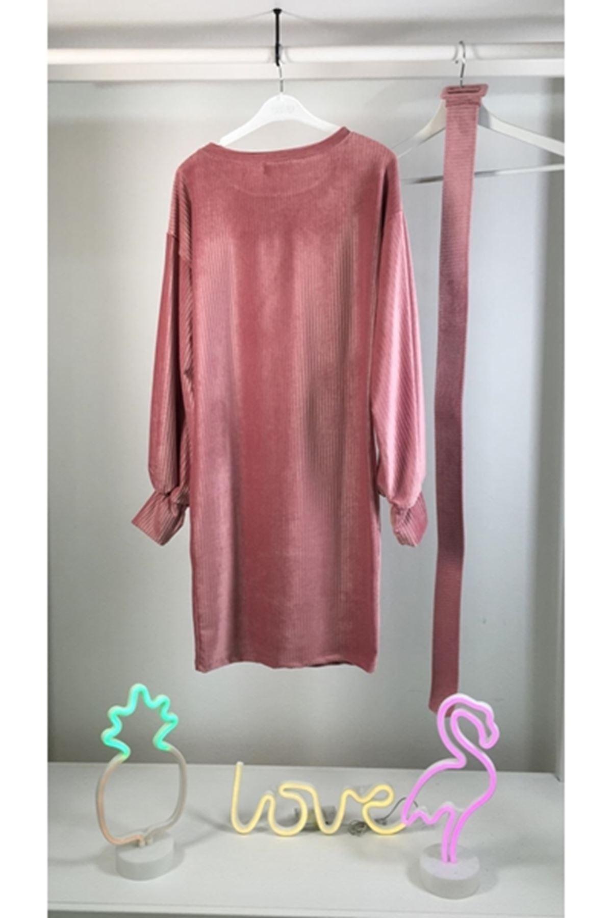 İthal Kadife Kemerli Elbise M17 PUDRA