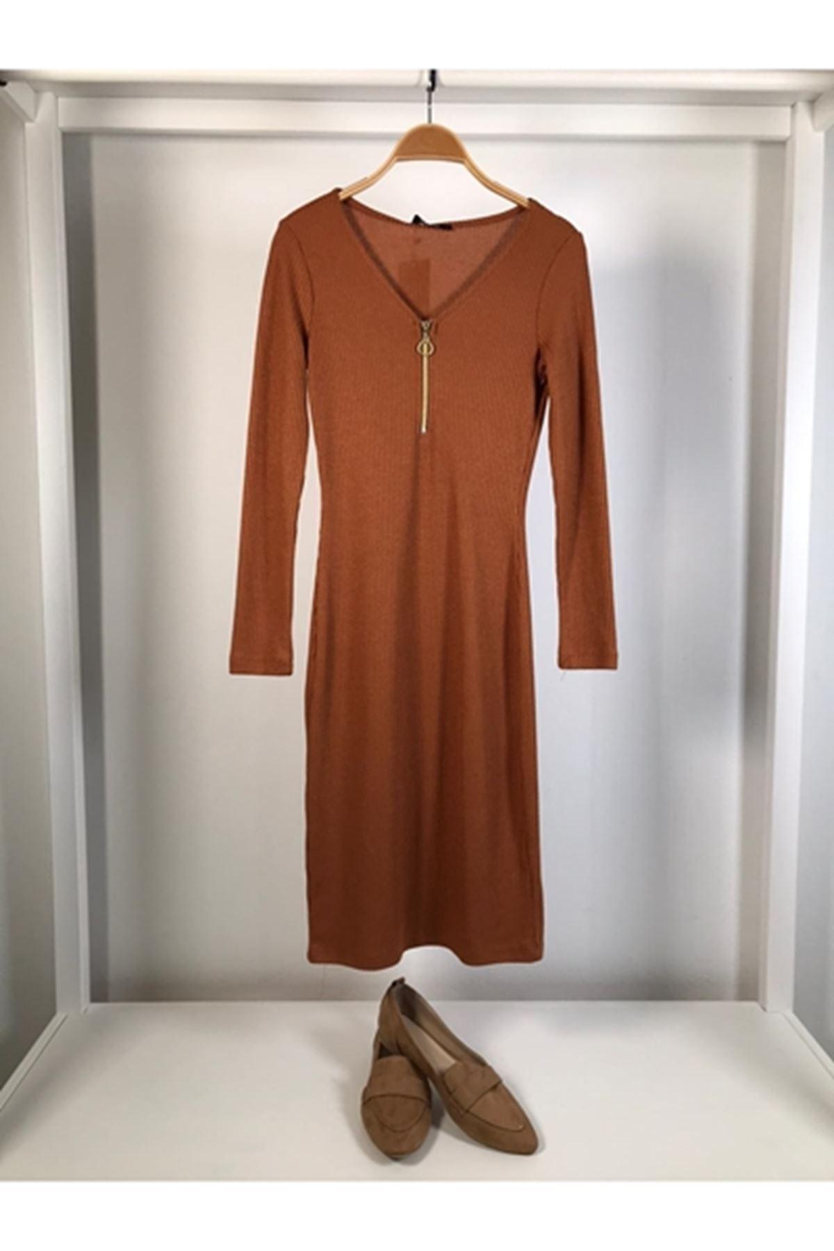 Fermuarlı trıko kalem elbise TABA