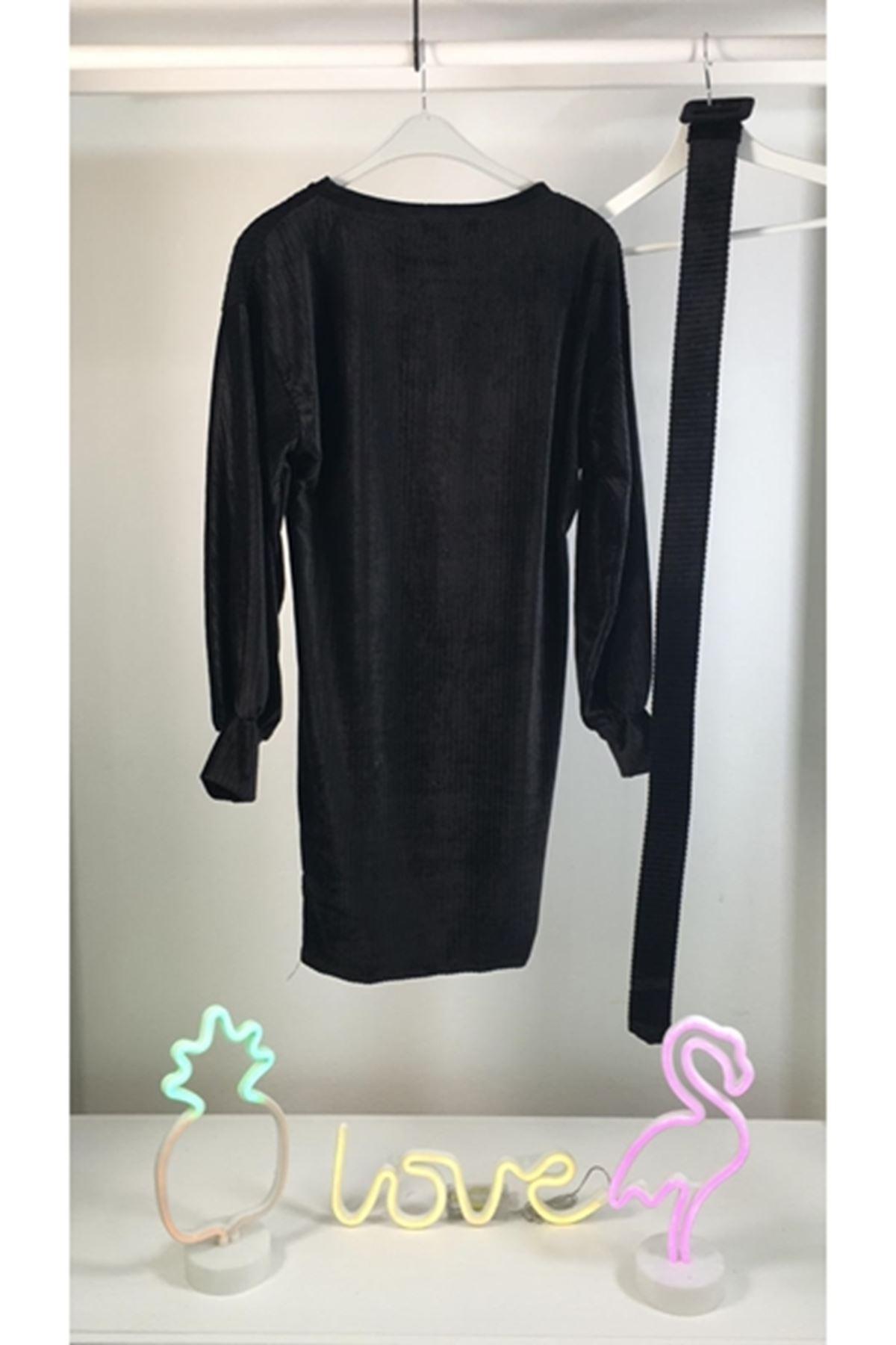 İthal Kadife Kemerli Elbise M17 SİYAH