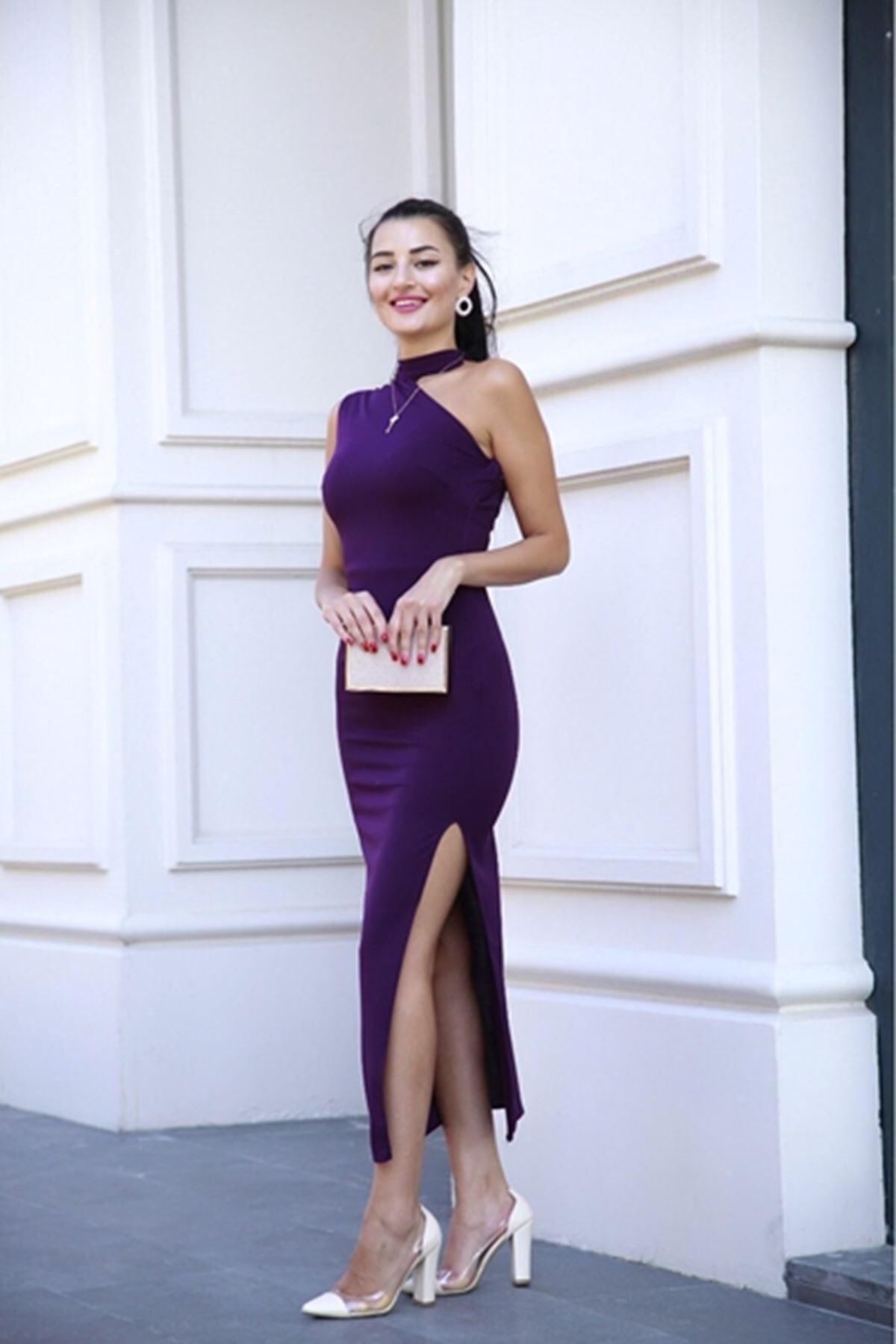 Tek omuzdan detaylı kalem elbise MÜRDÜM