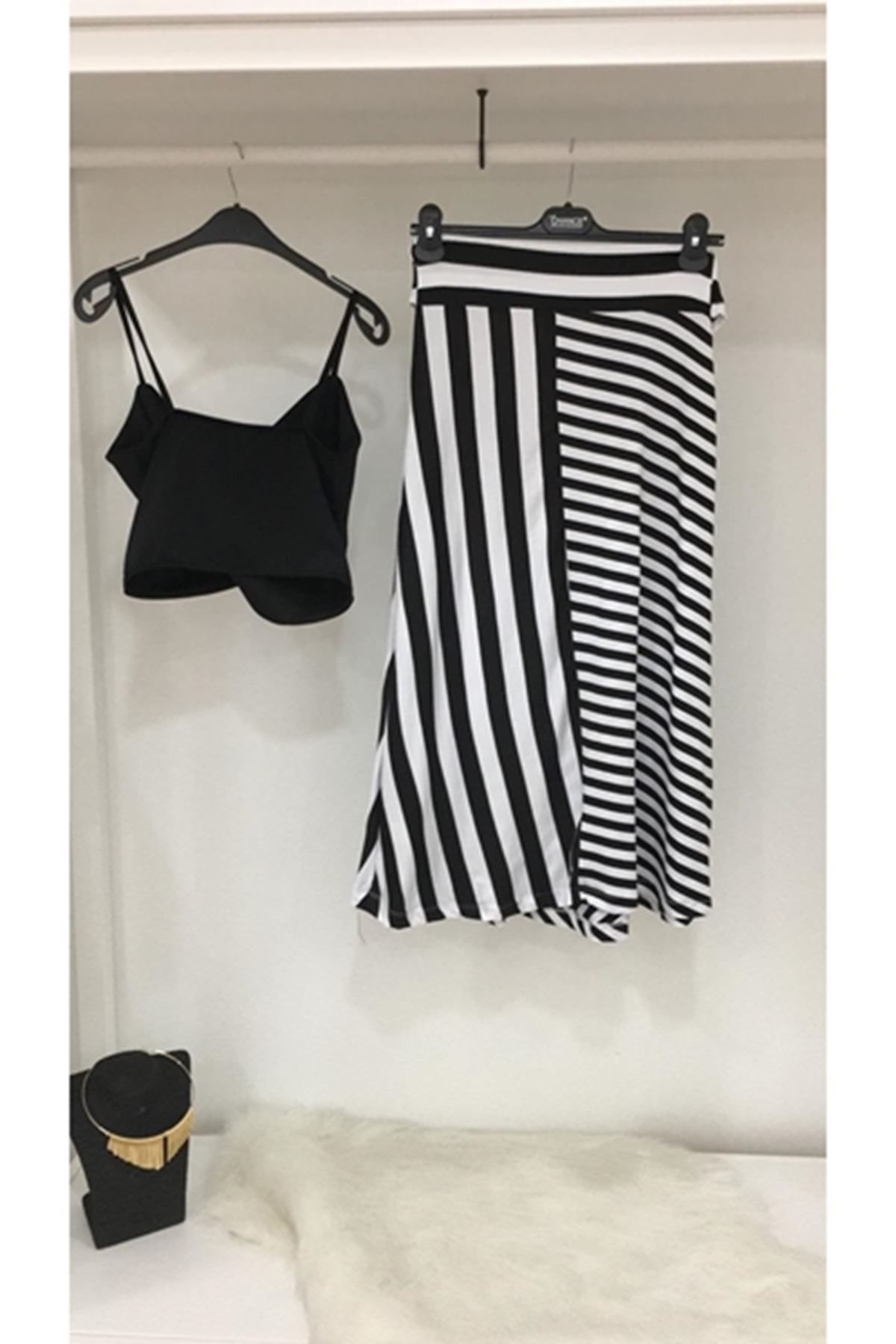 Etek zebra desen ikili takım SİYAH