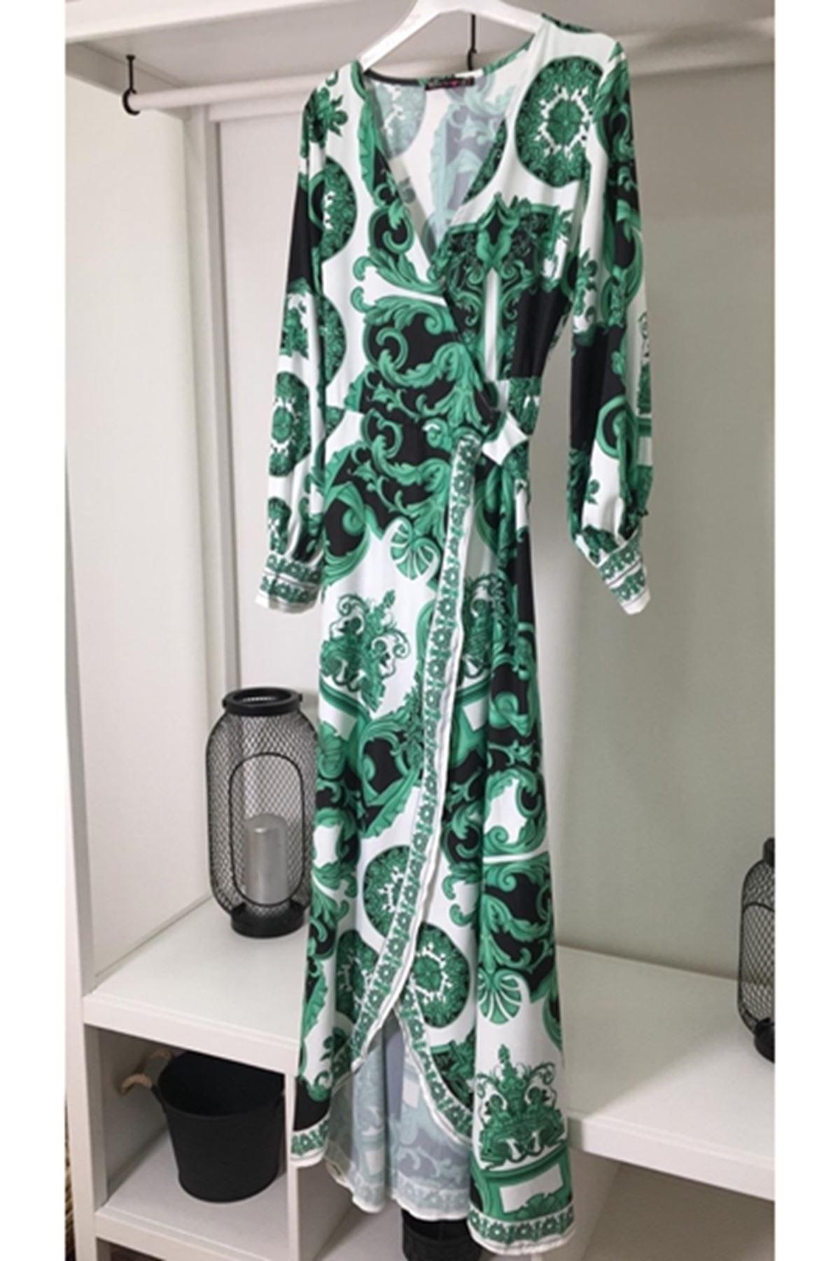 Vers desenli yeşil elbise MULTİ
