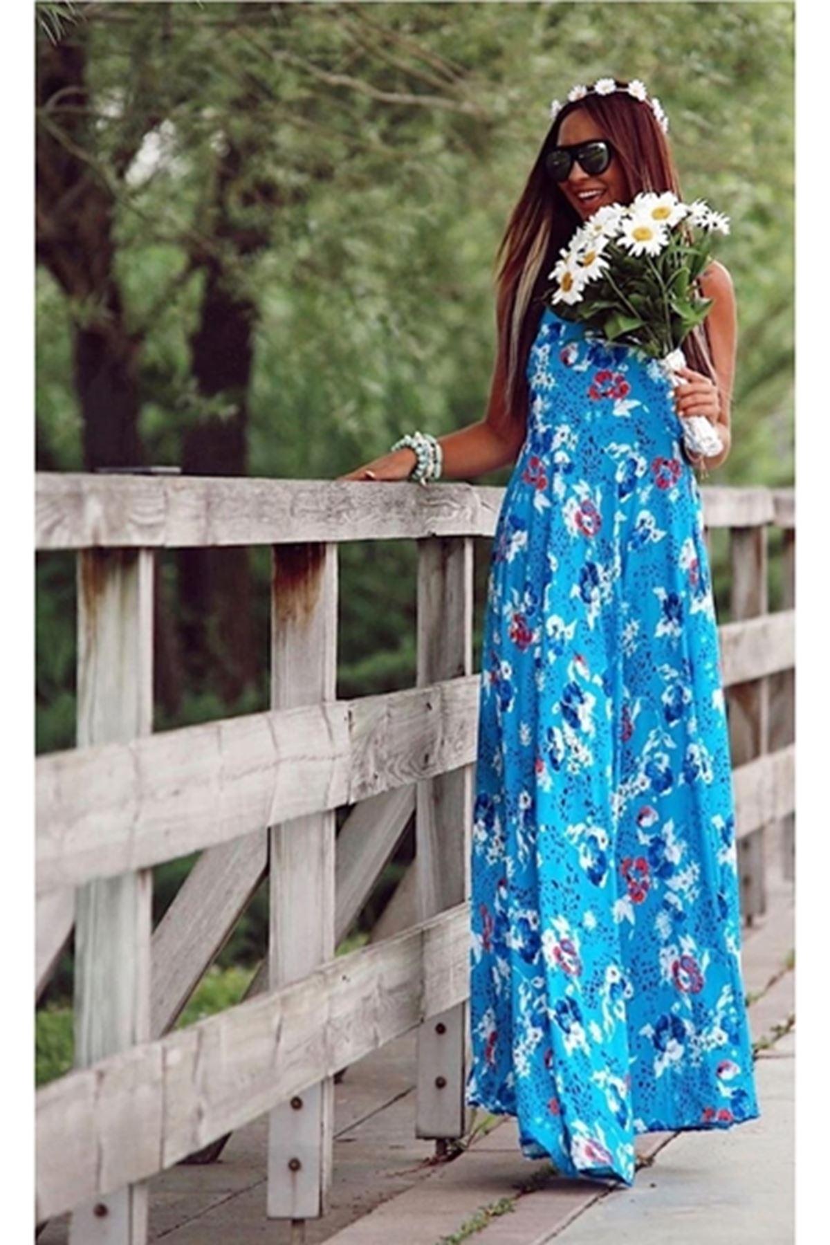 Kalın askı sırt gipeli elbise MAVİ