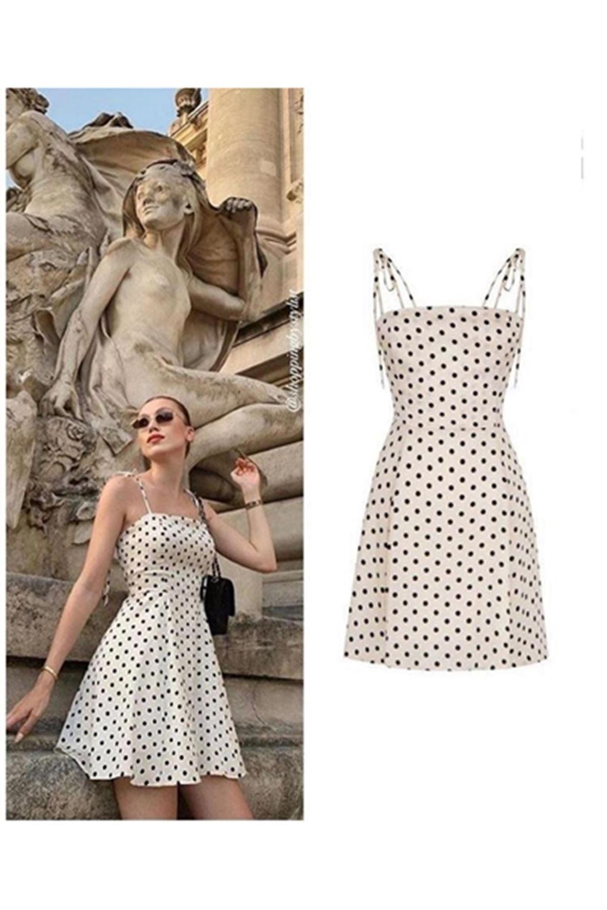 Dijital puan baskılı elbise BEYAZ