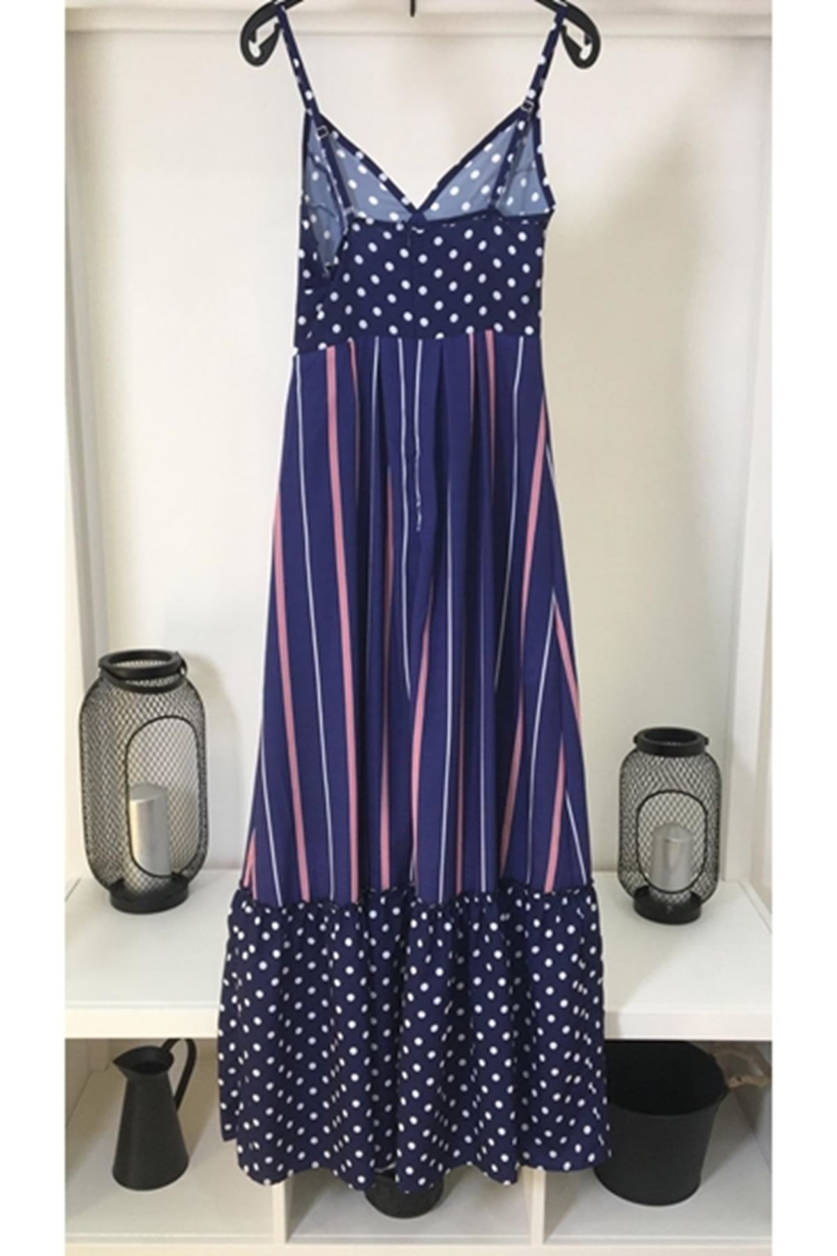 Puantiye detaylı moss elbise LACİVERT