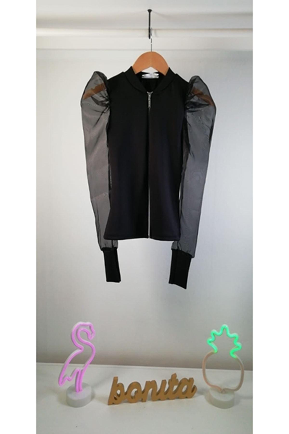 Organze Kol Ceket Bluz ES141 SİYAH