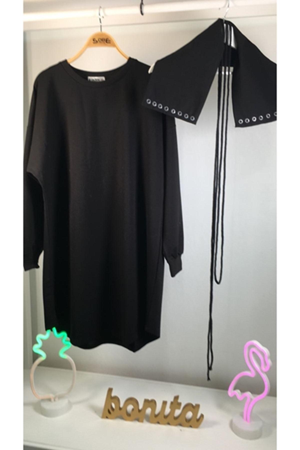 Tasarım Sweat Elbise M18 SİYAH