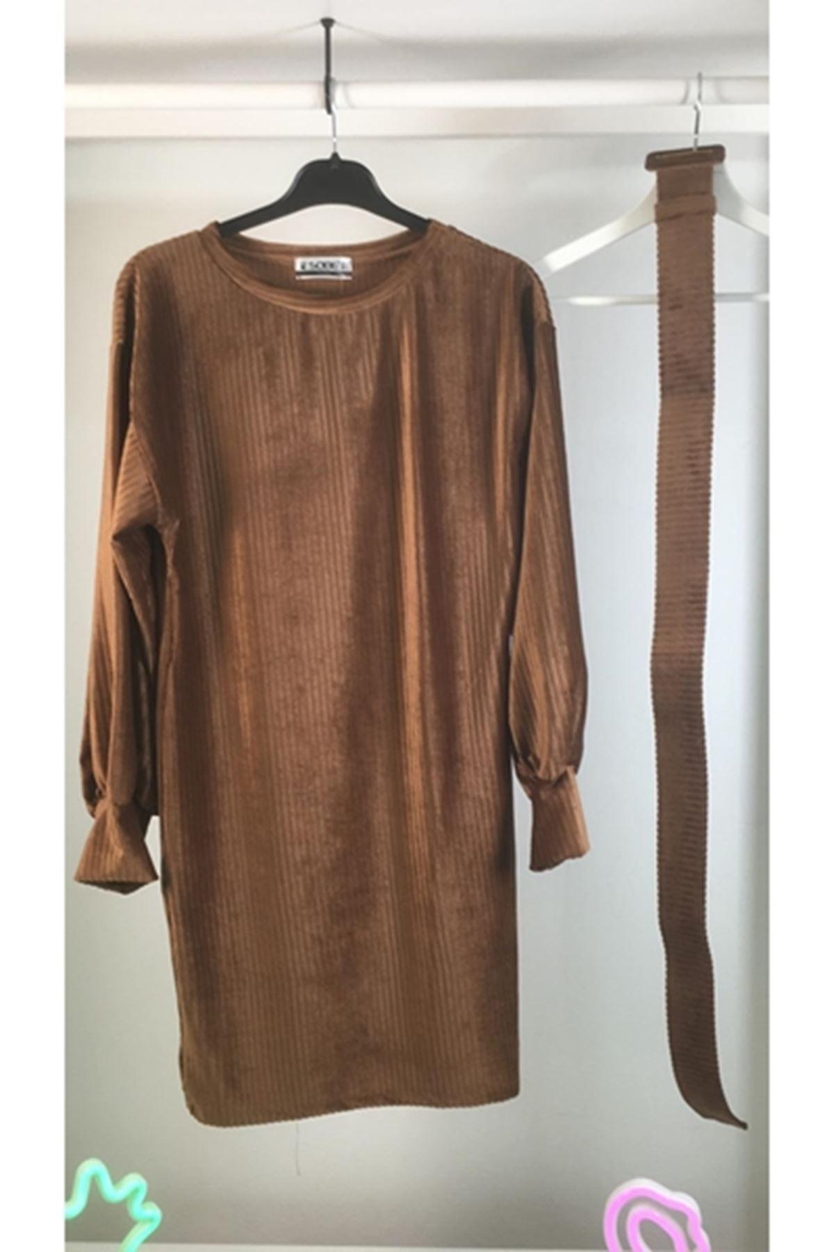 İthal Kadife Kemerli Elbise M17 KAHVERENGİ