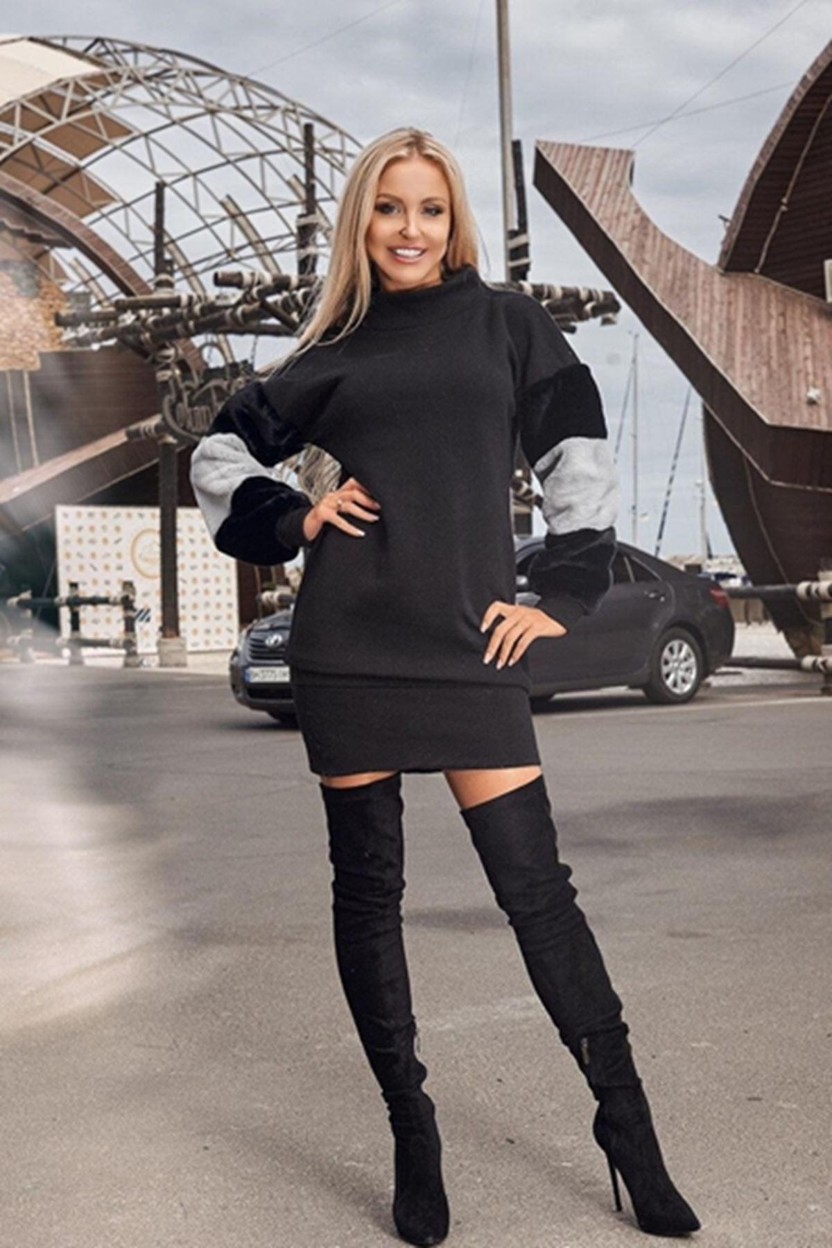 Kol yumoş akrelik tunik elbise ES138 SİYAH
