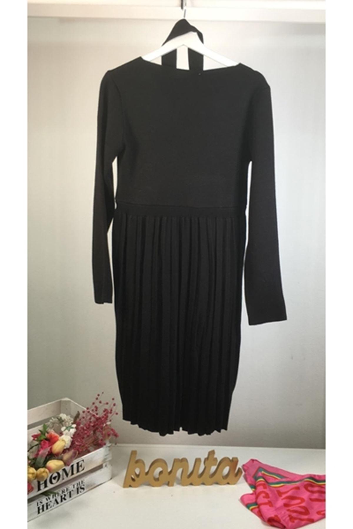 Eteği Pilise Kruvaze İpek TRiko Elbise K72 SİYAH
