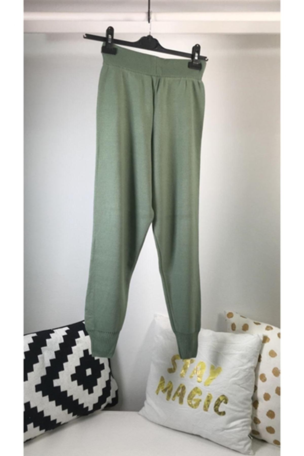 Kuşaklı paça lastik trıko pantolon MİNT YEŞİLİ