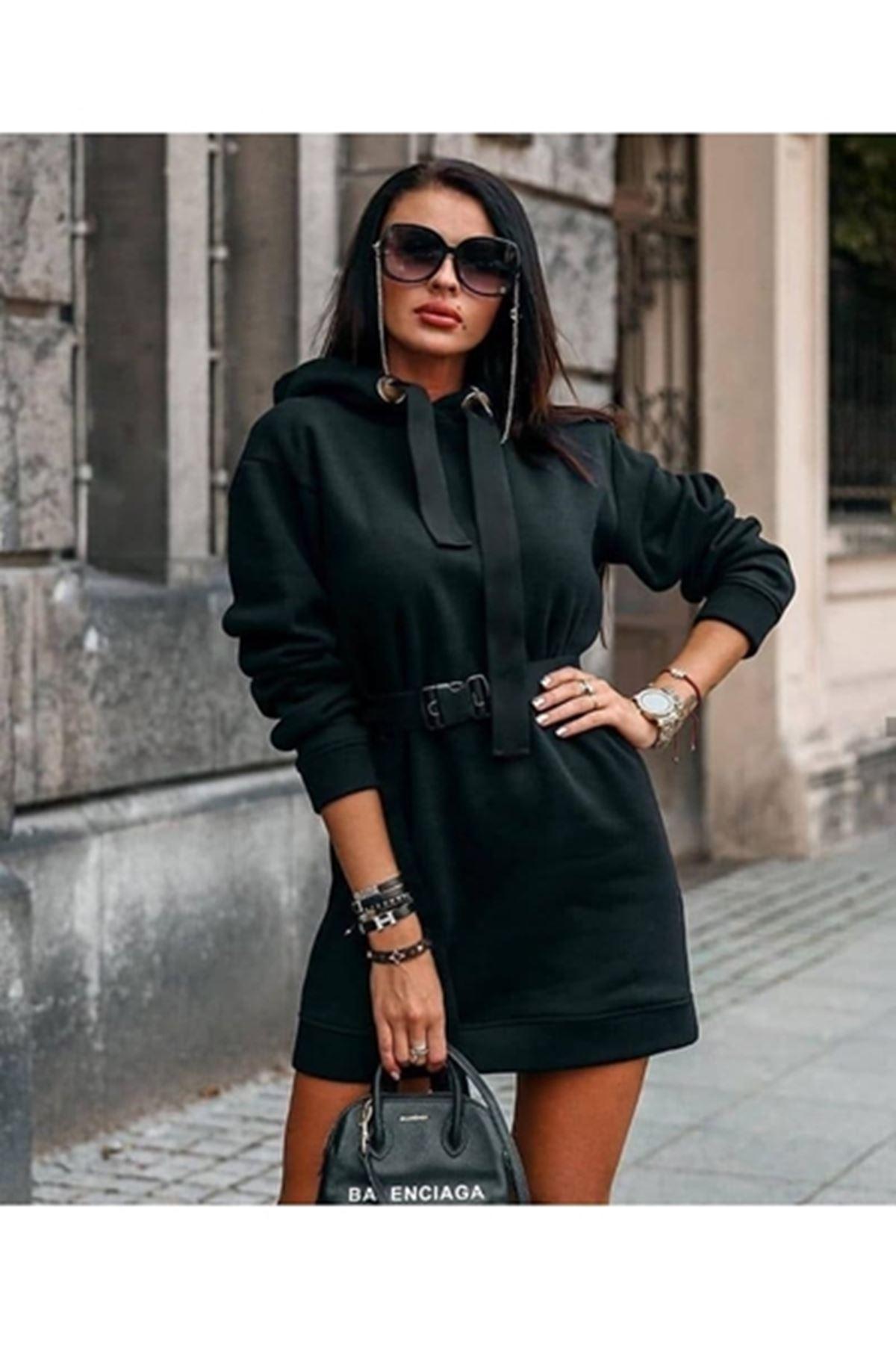 kuşaklı tunik elbise M15 SİYAH