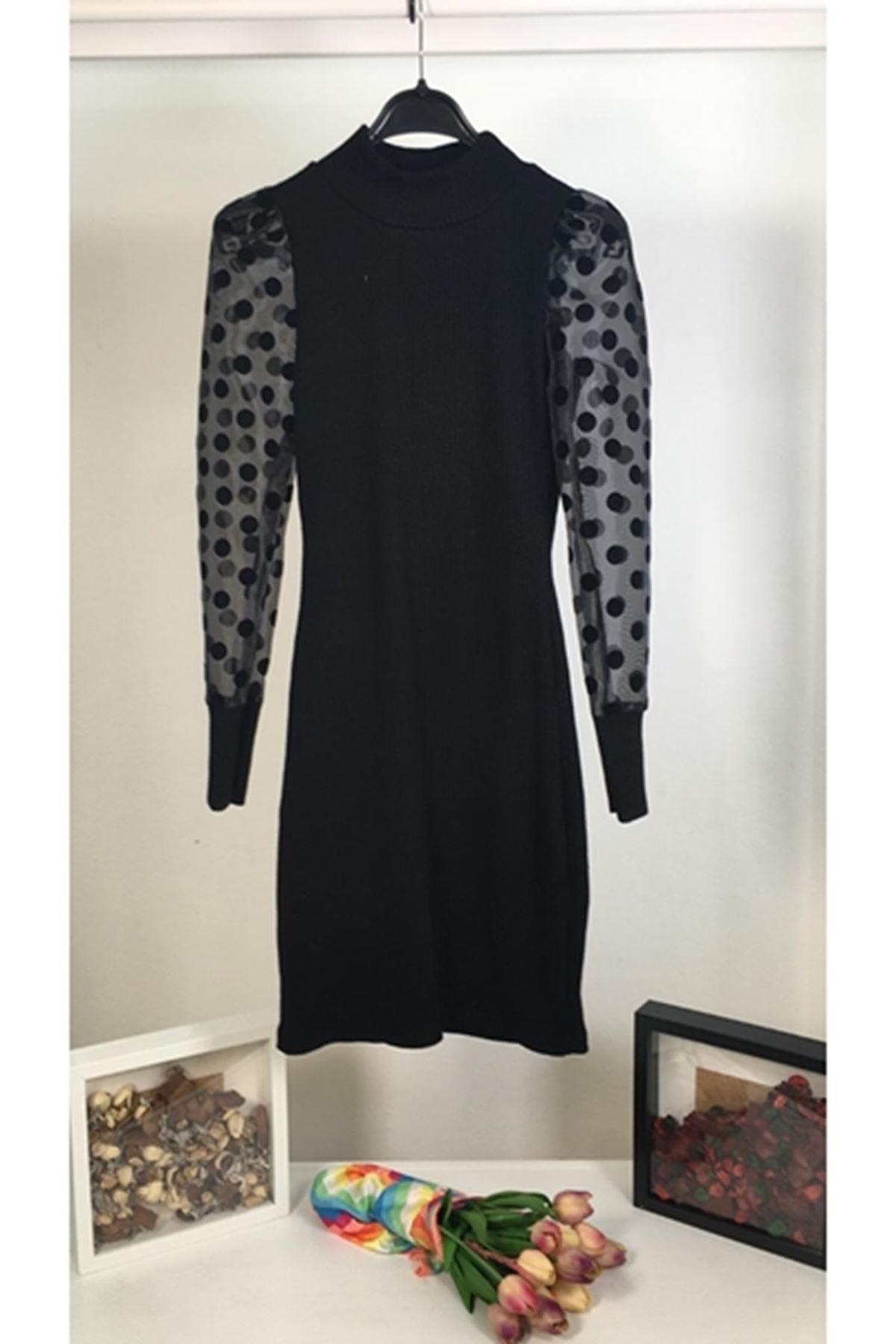 Tül üzeri puanlı akrelik elbise VS163 SİYAH