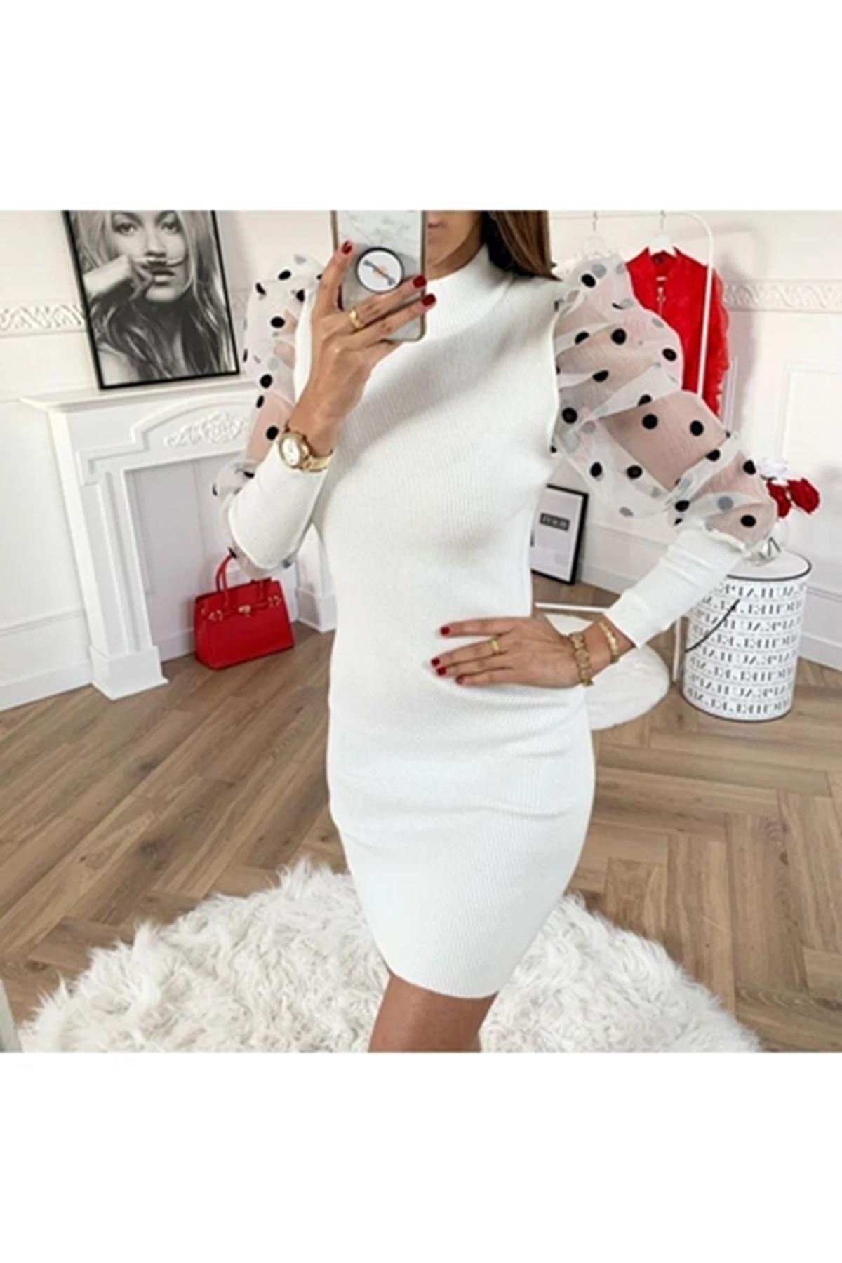 Tül üzeri puanlı akrelik elbise VS163 BEYAZ