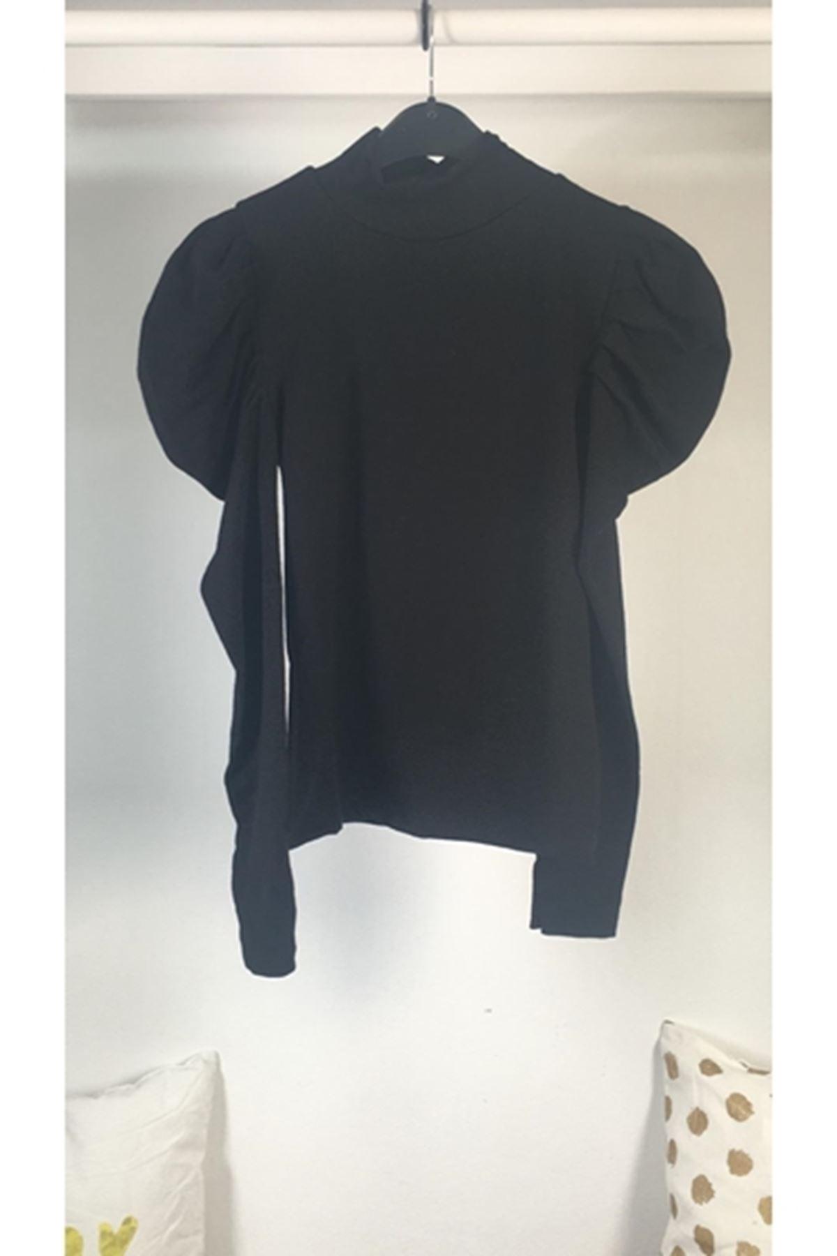 Kolları katkat bluz VS165 SİYAH