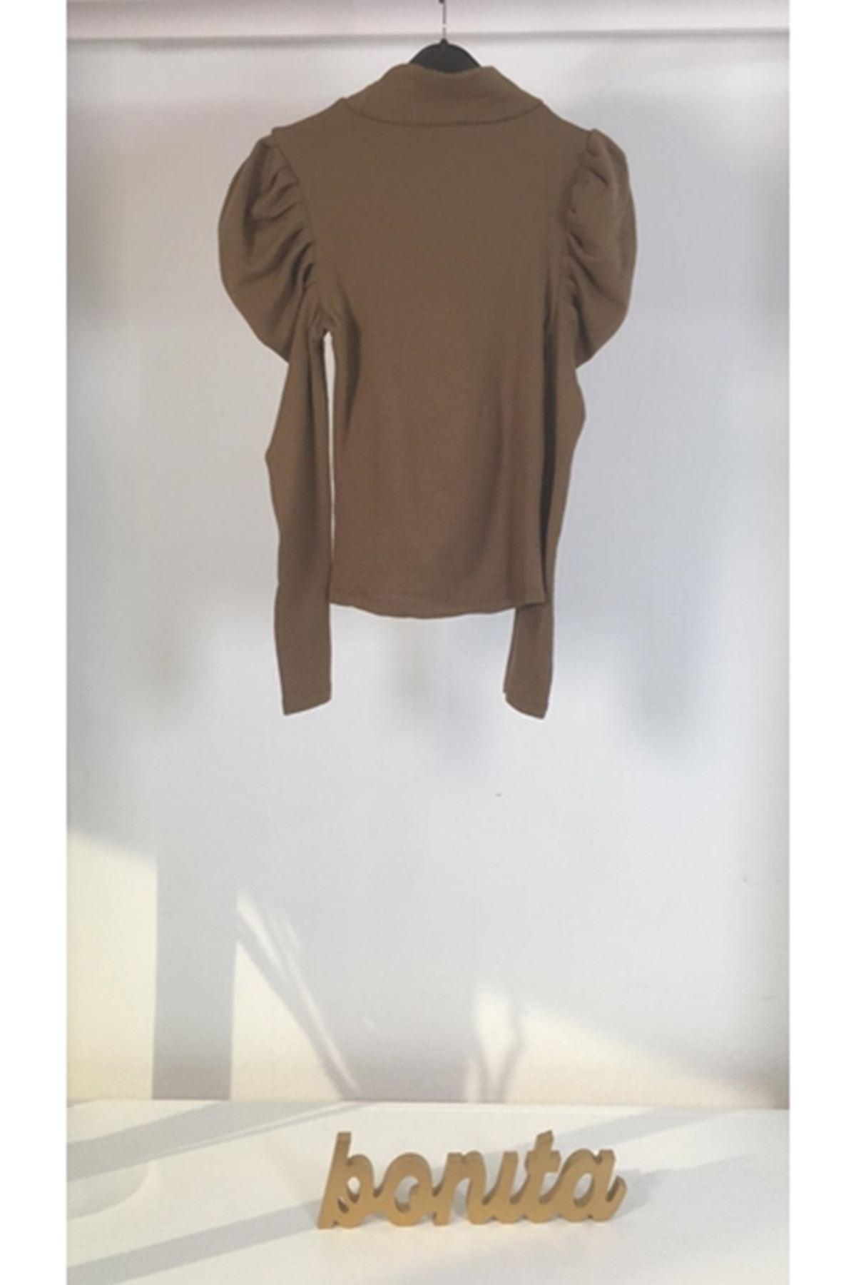 Kolları katkat bluz VS165 VİZON