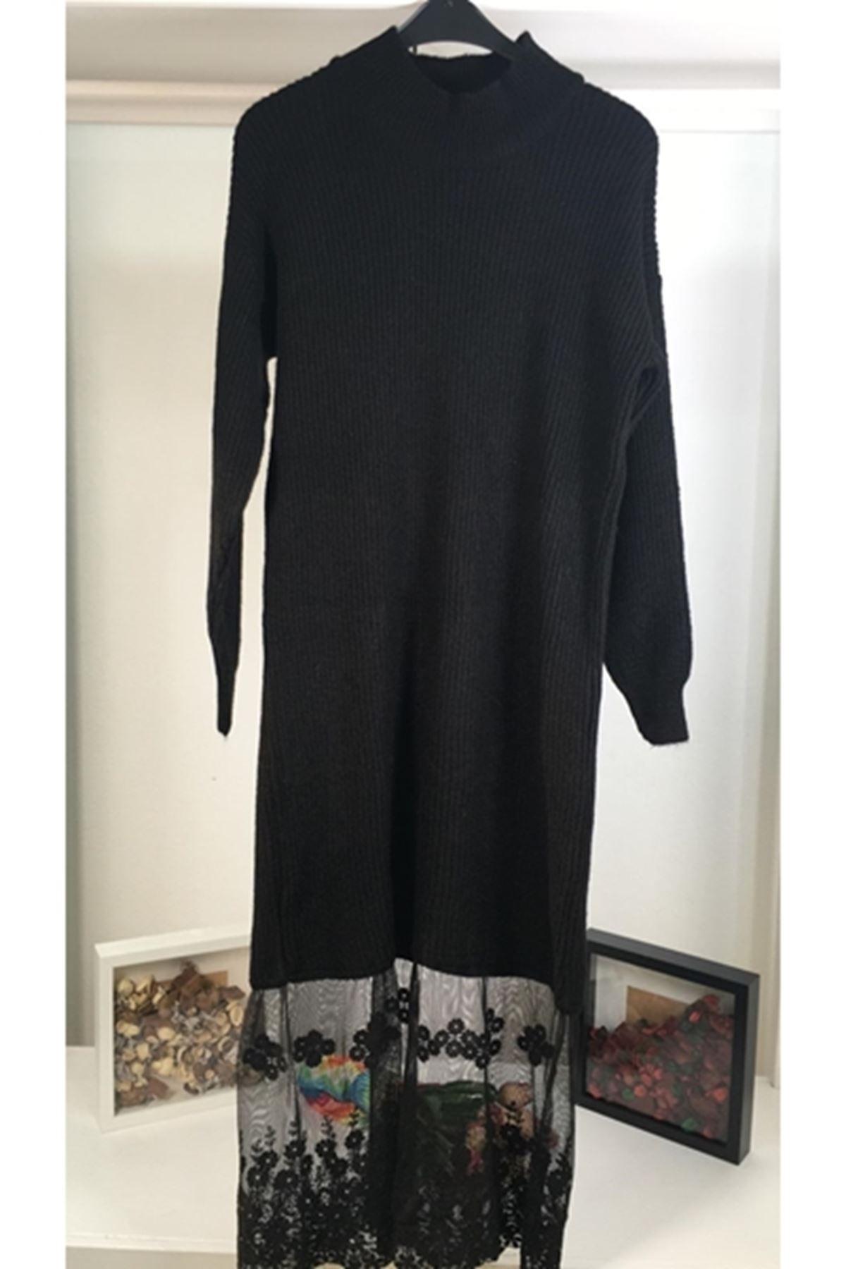 Etek dantel iki renk triko elbise YSB139 SİYAH