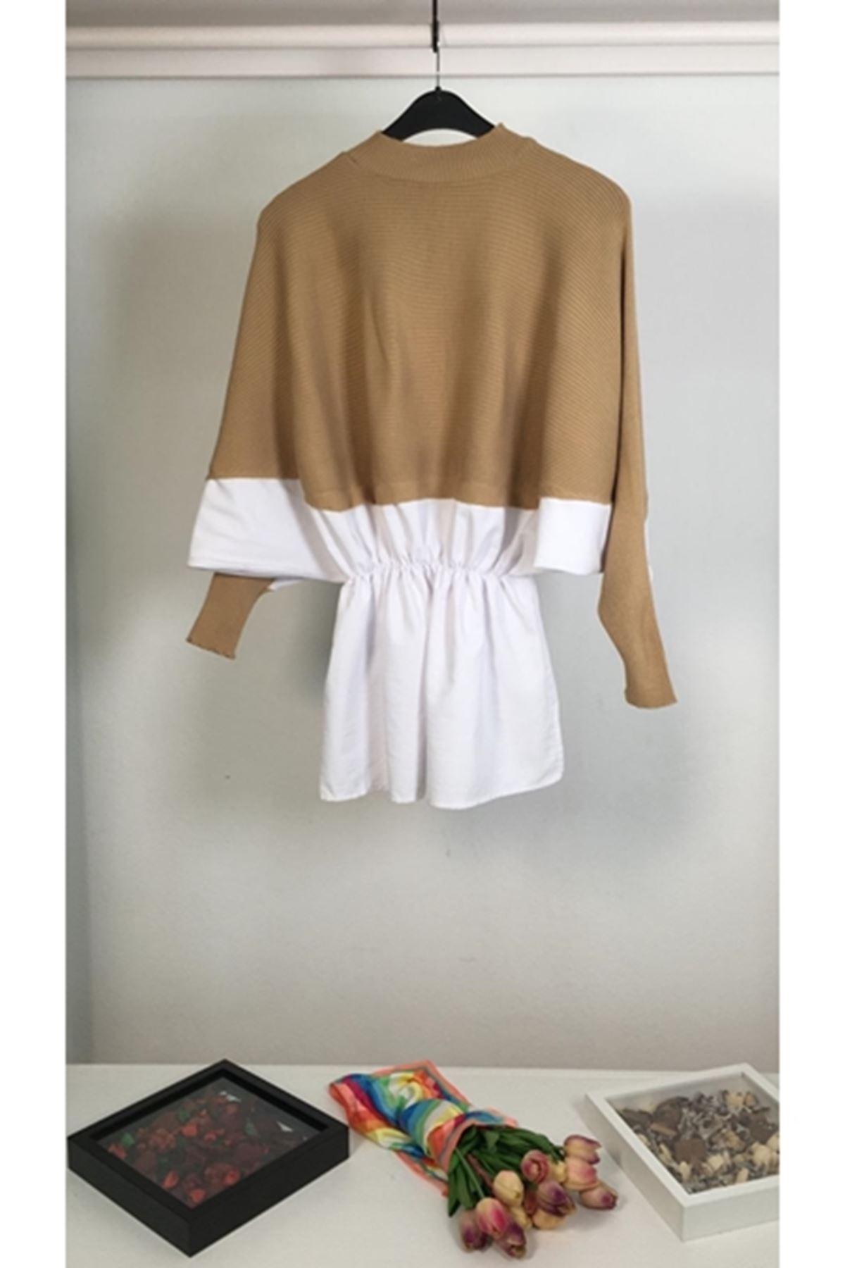 İçi gömlek detaylı triko kazak K51 BEJ