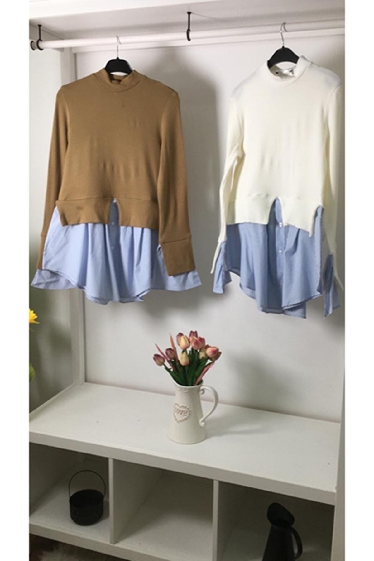 Gömlek detaylı akrelik bluz (K17) BEYAZ
