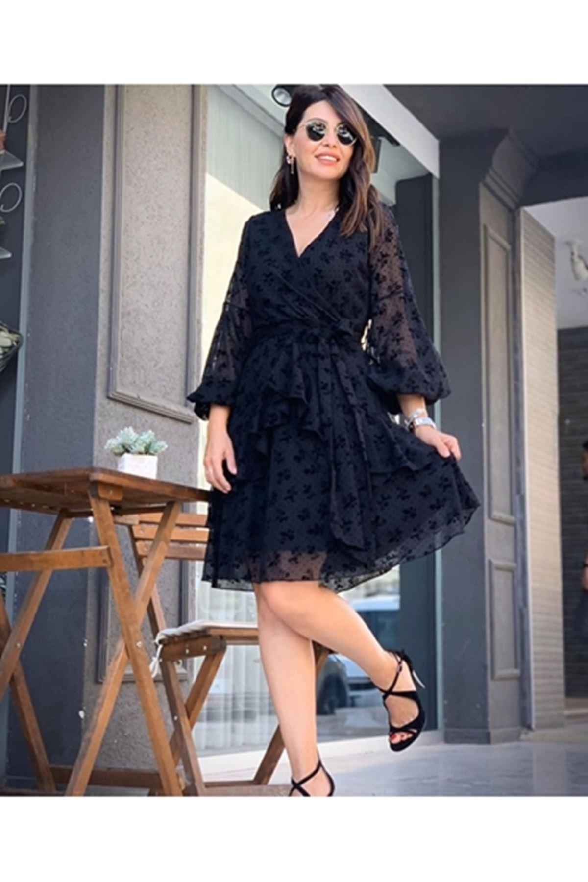 Flog baskılı kravuze elbise SİYAH