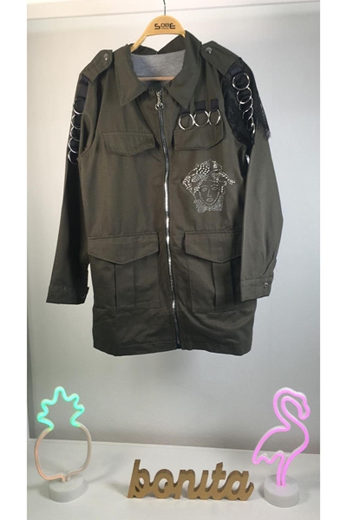 Halka tasarımlı gabardin ceket HAKİ