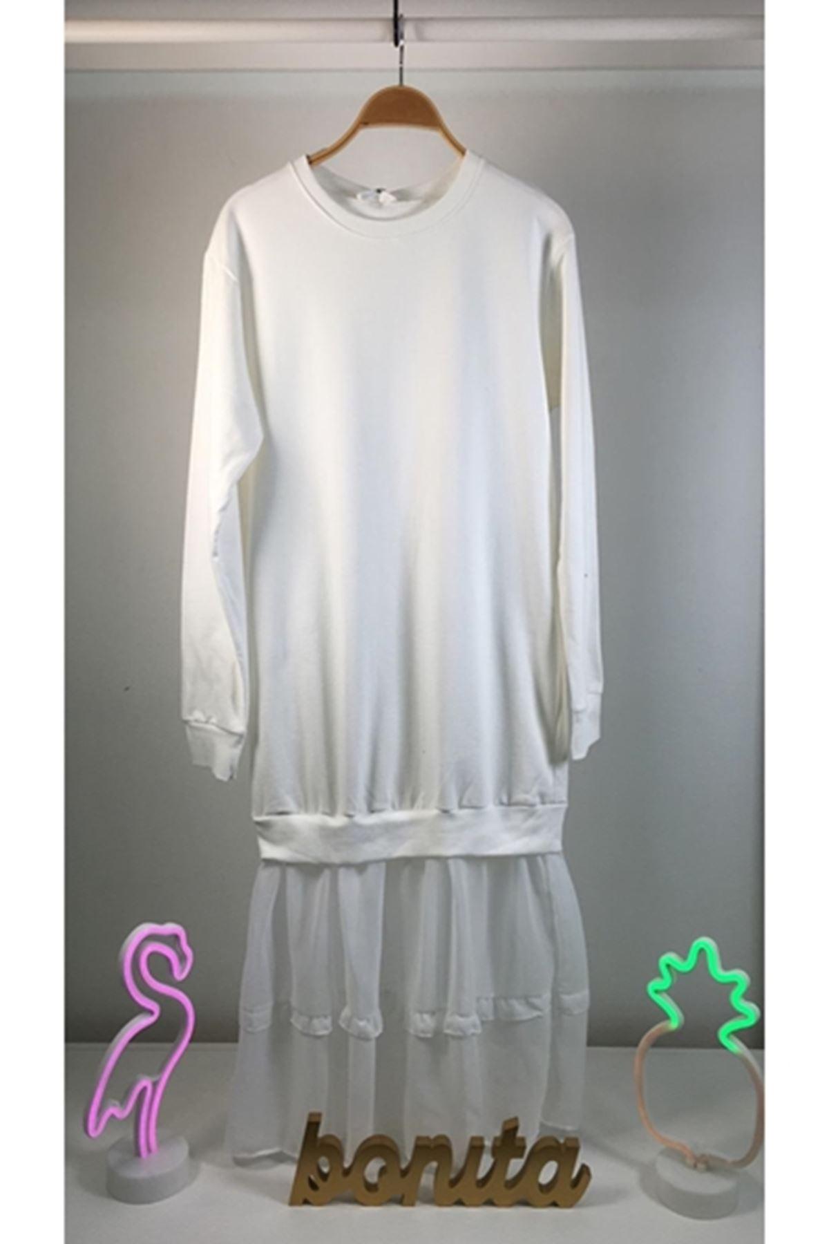 Eteği tül 2 renk elbise BEYAZ