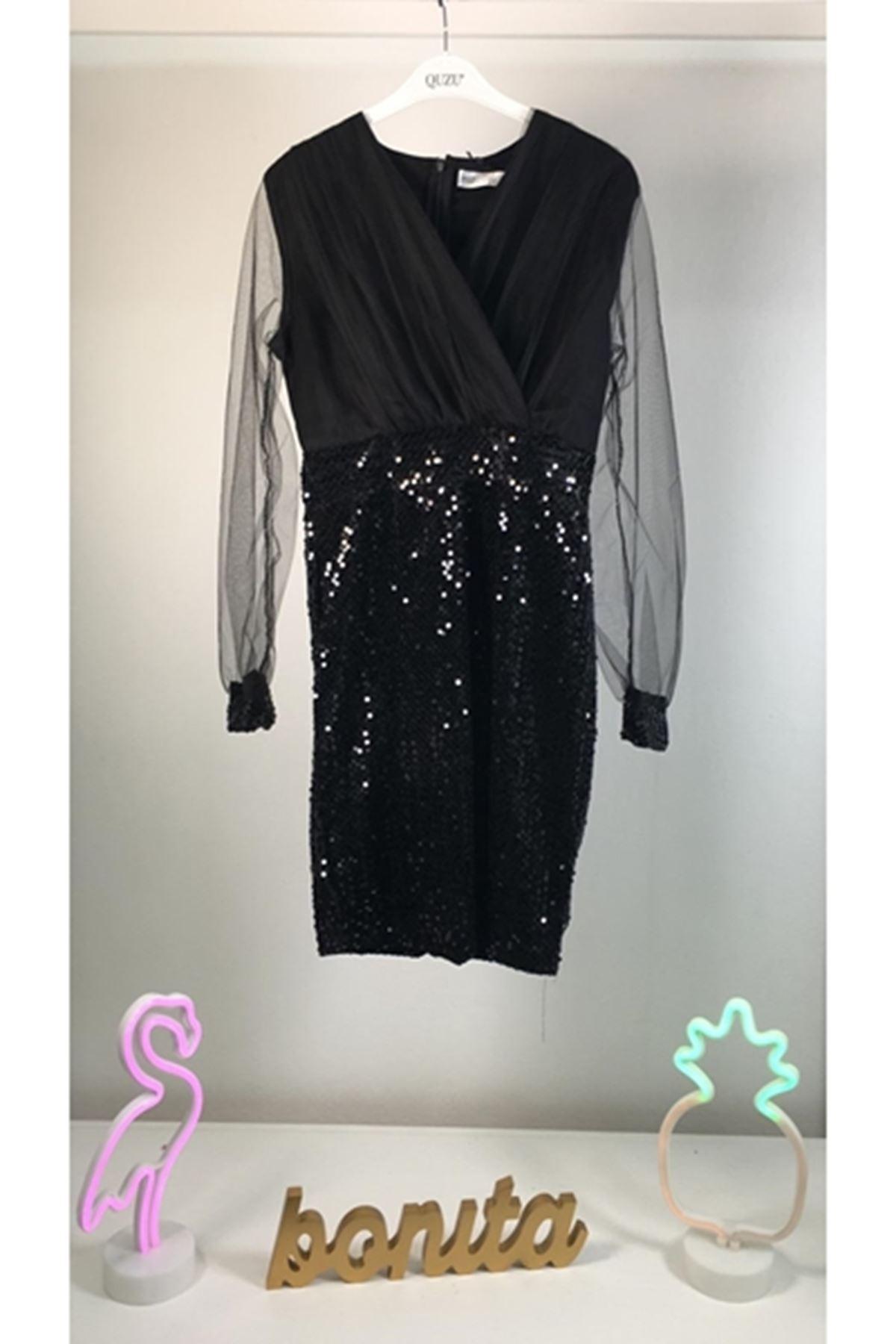 Kadife payetli elbise SİYAH