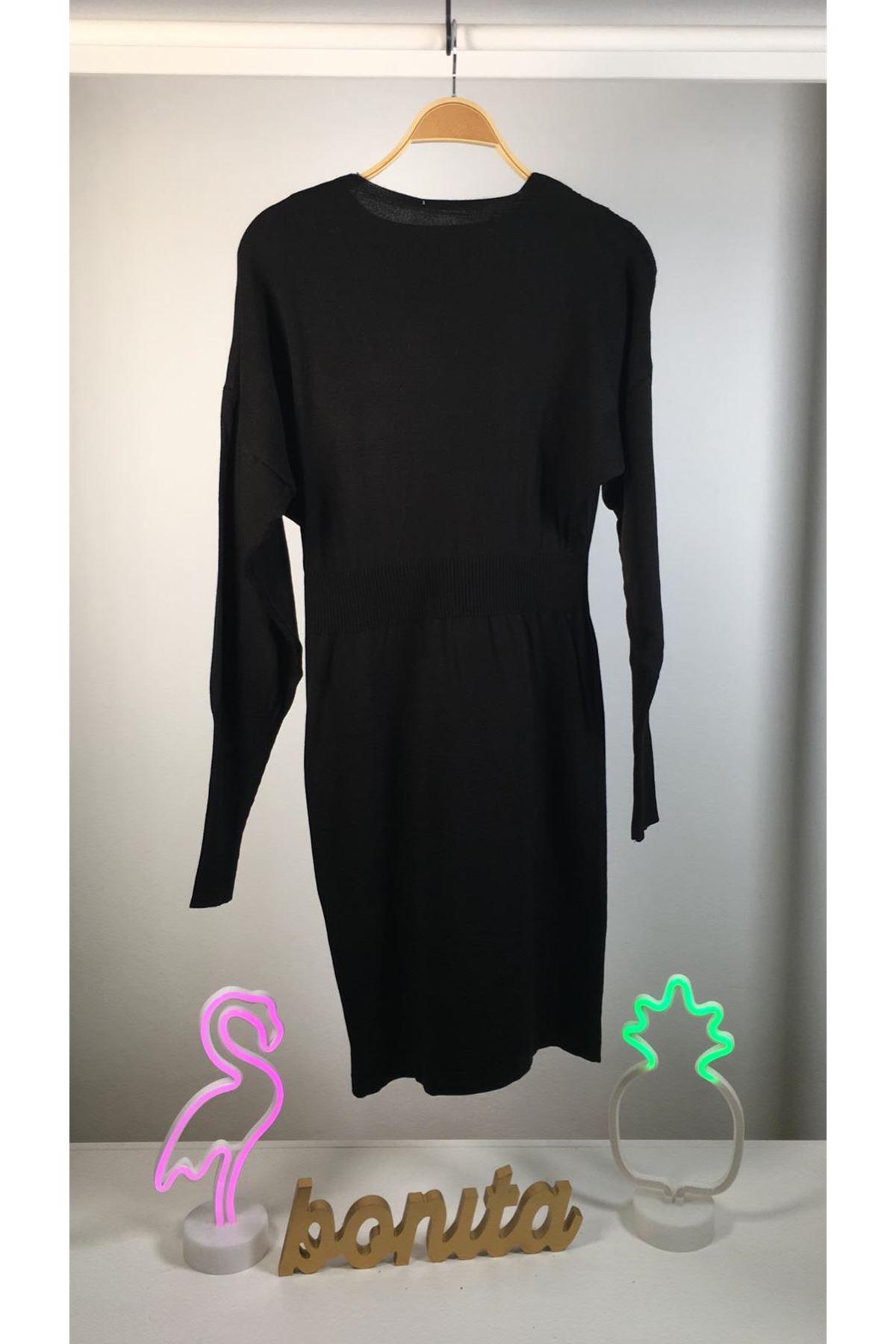 3 renk triko elbise K87 SİYAH