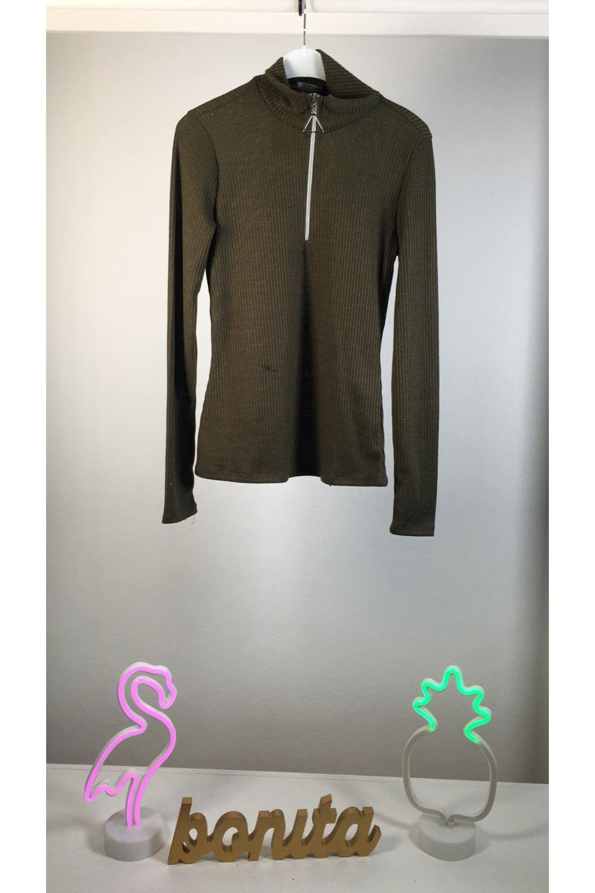 Fermuarlı kaşkorse bluz HAKİ