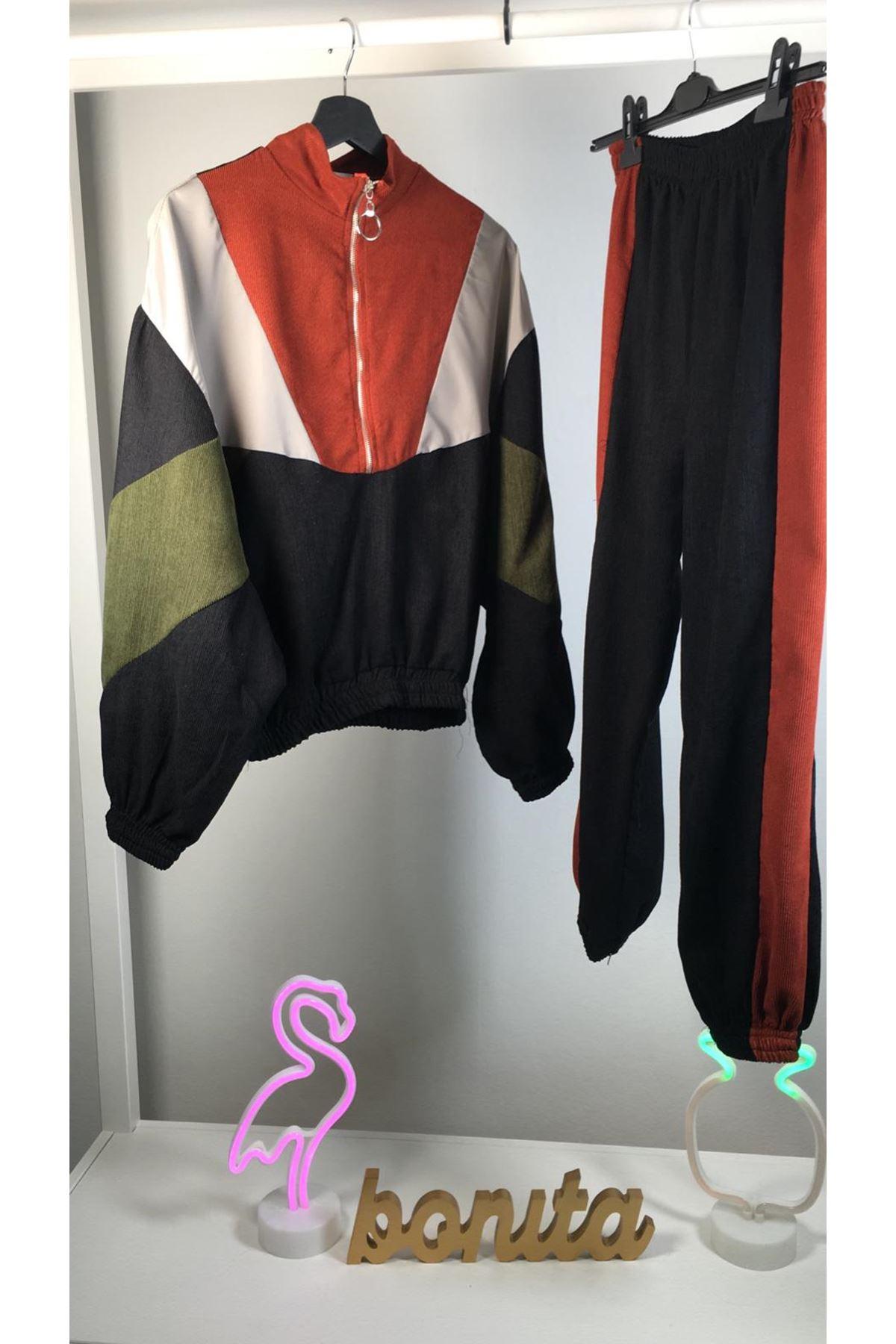 Renkli kadife ikili takım GRİ