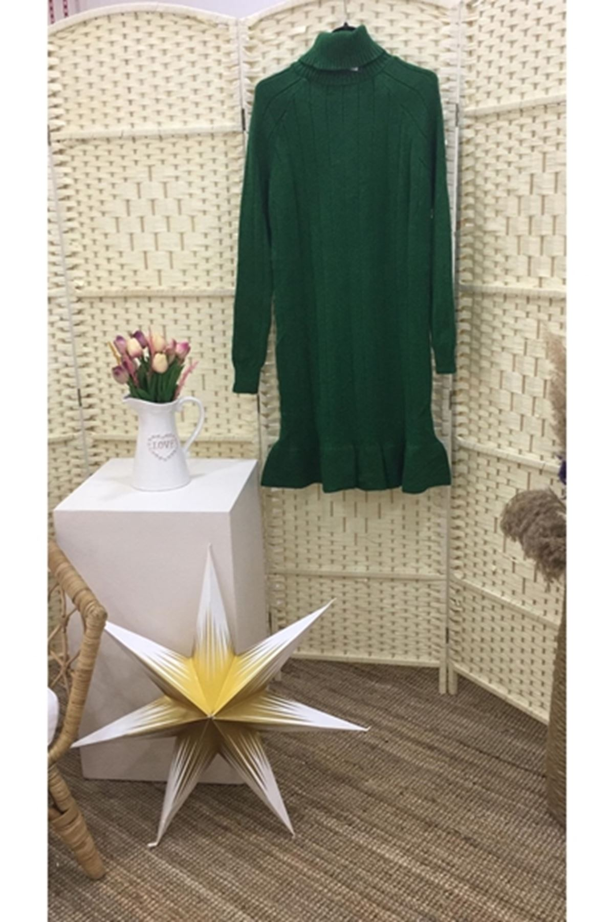 Eteği fırfır ön işlemeli trıko elbise K08 YEŞİL