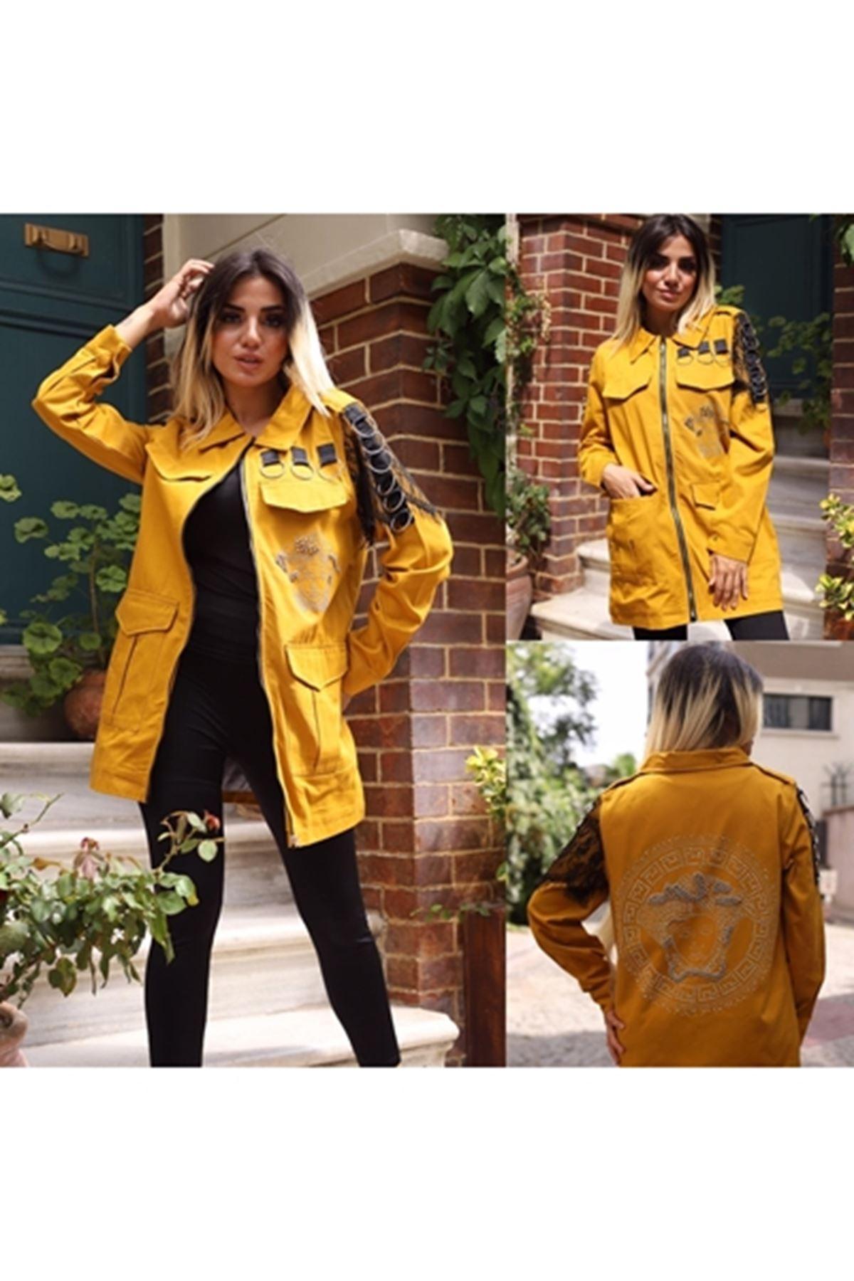 Halka tasarımlı gabardin ceket HARDAL
