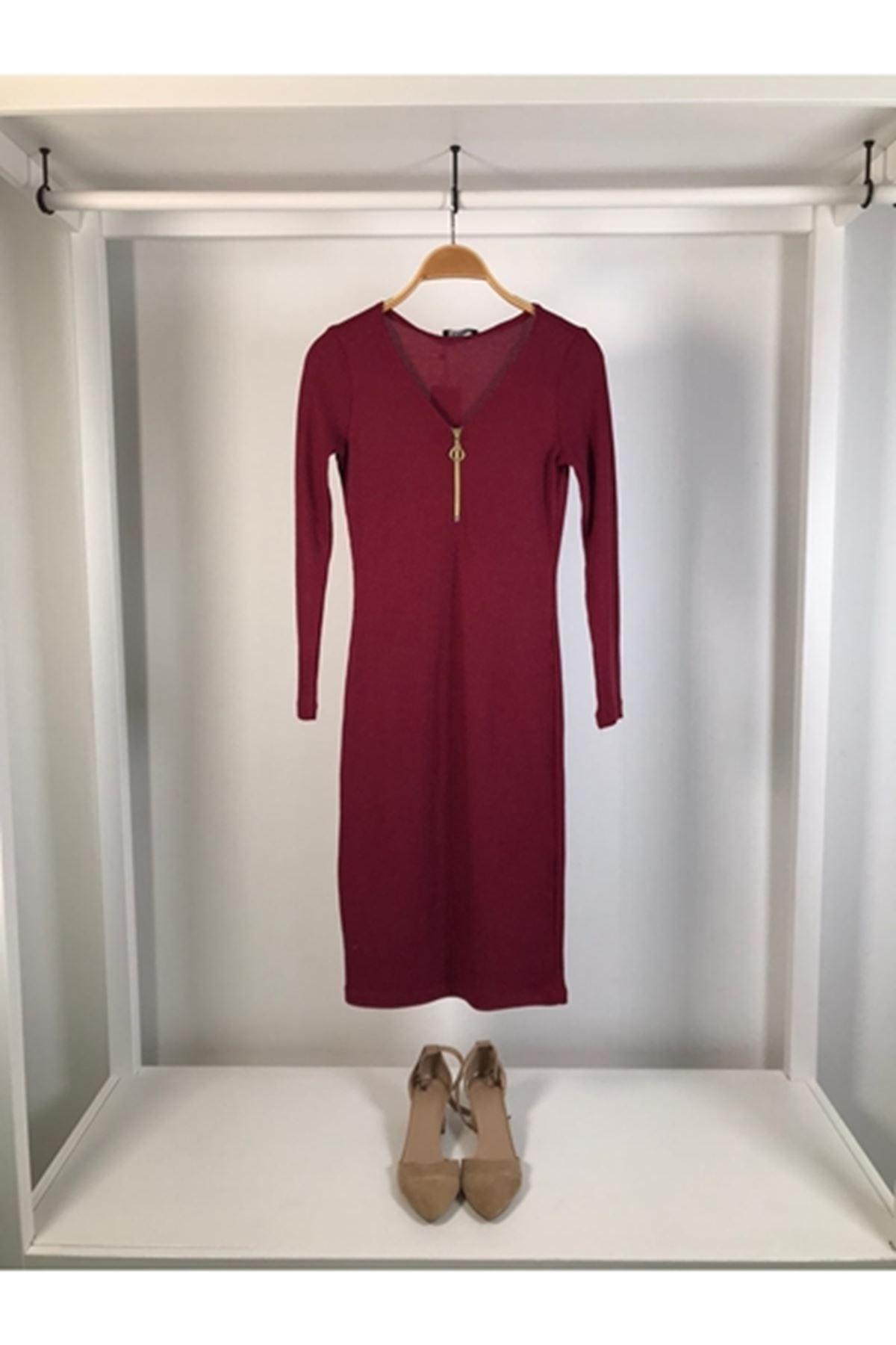 Fermuarlı trıko kalem elbise BORDO