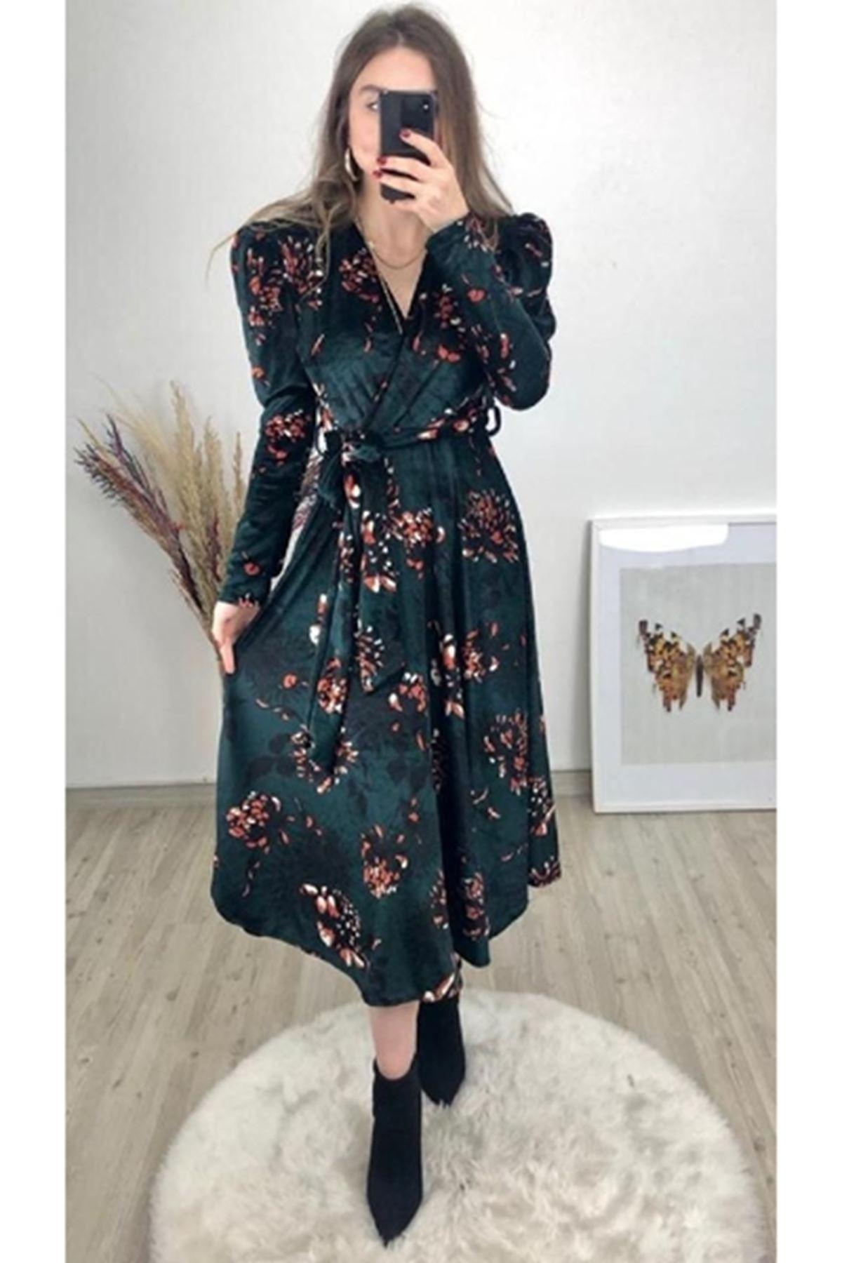 Kadife çiçekli midiboy elbise YEŞİL