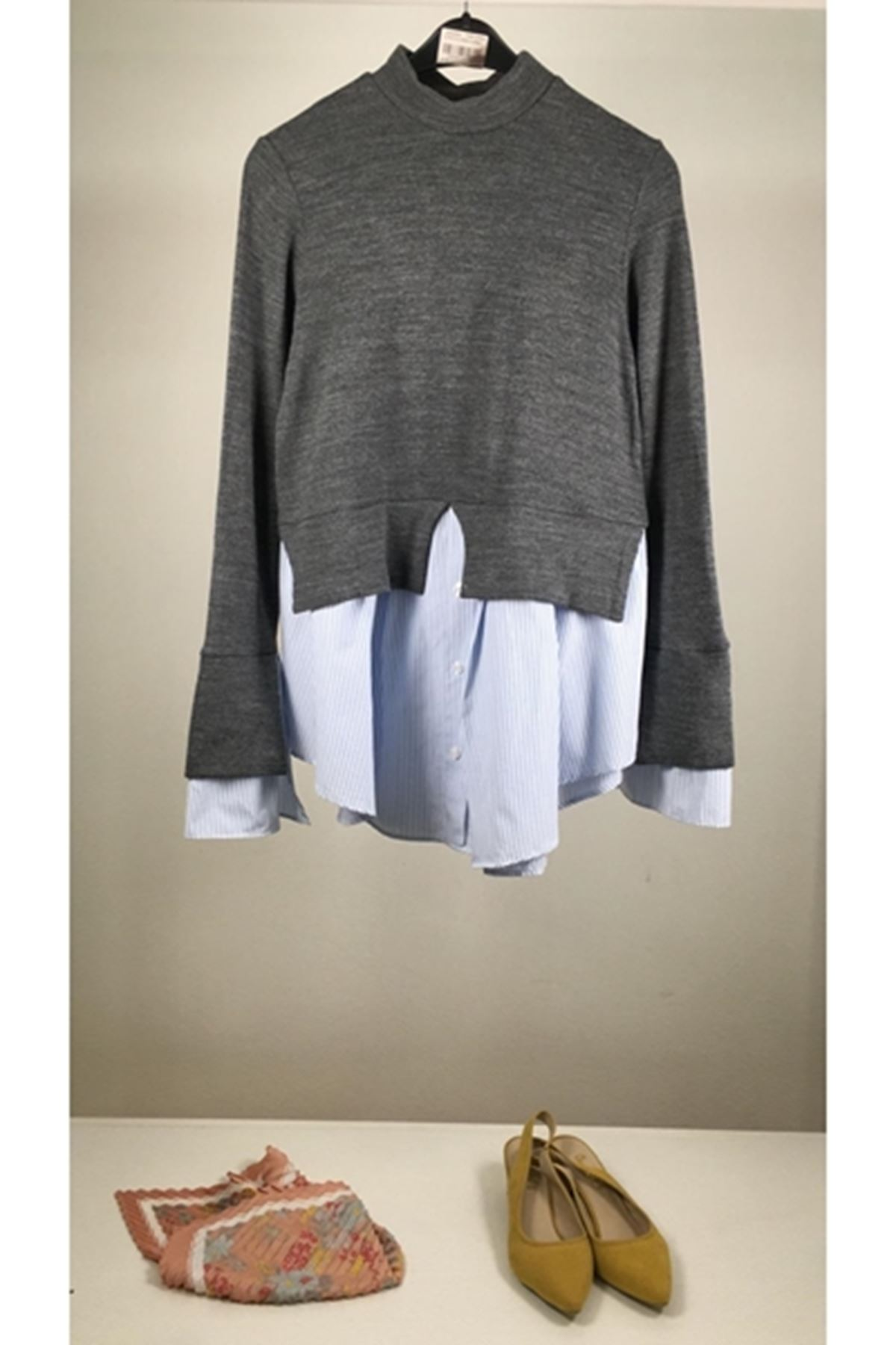Gömlek detaylı akrelik bluz (K17) ANTRASİT