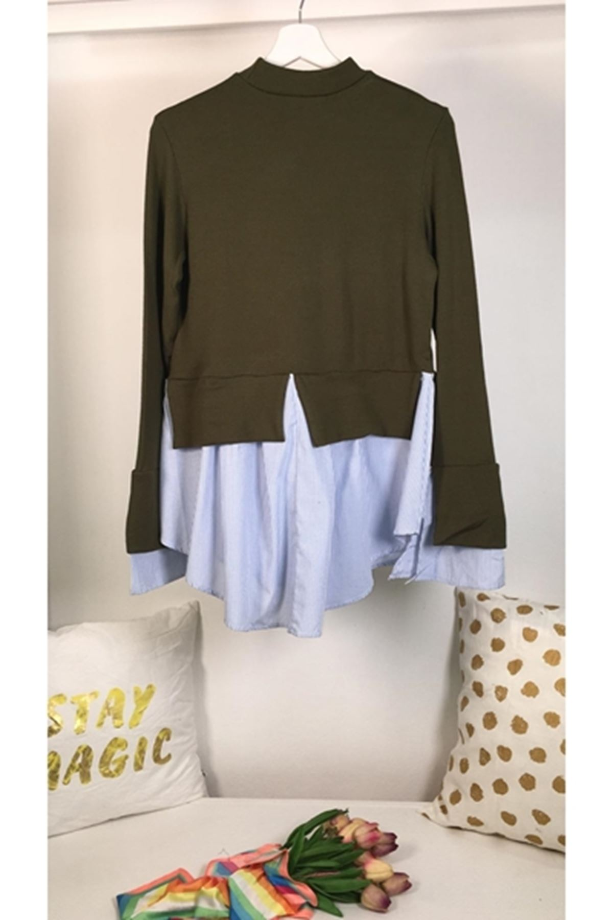 Gömlek detaylı akrelik bluz (K17) HAKİ