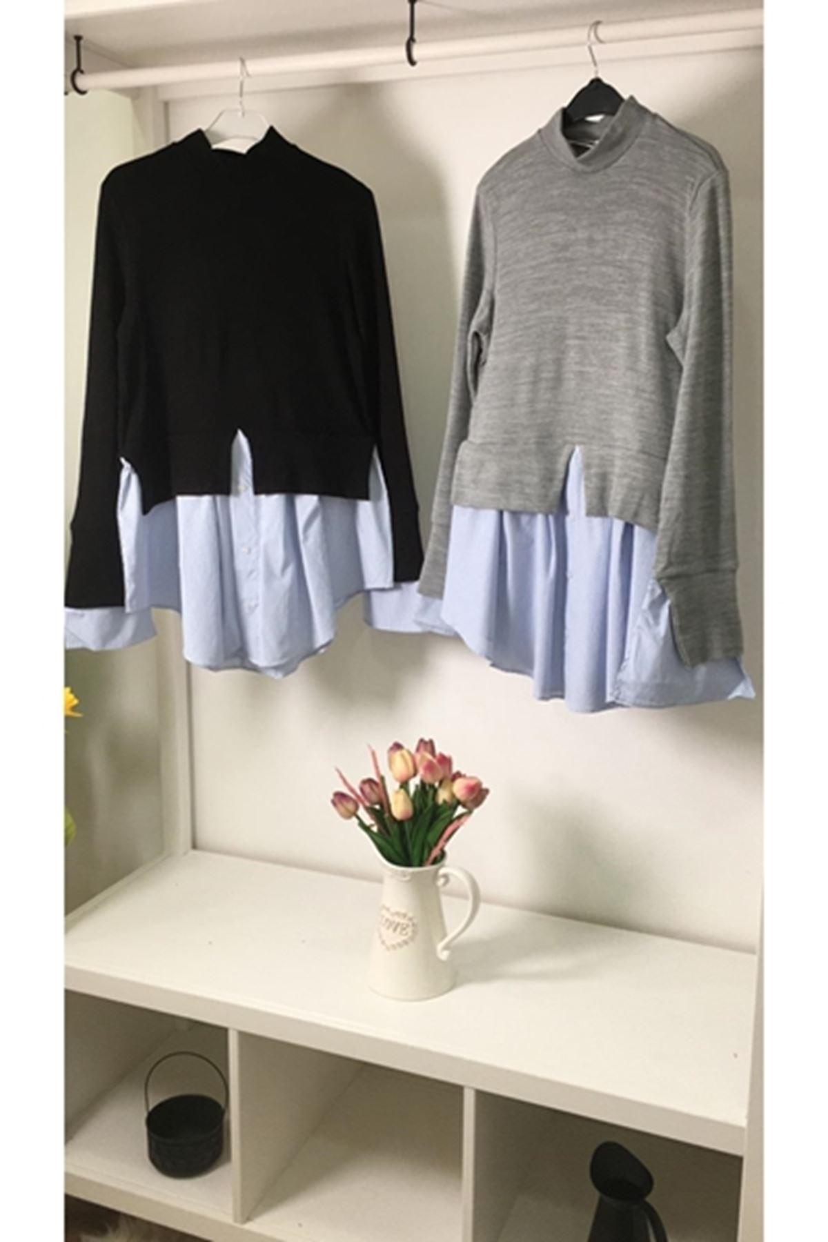 Gömlek detaylı akrelik bluz (K17) SİYAH