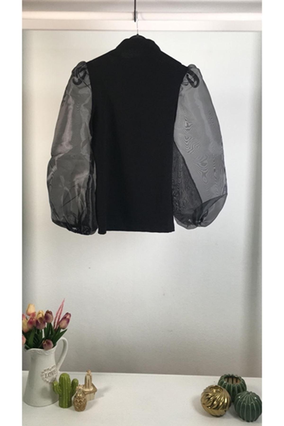 Balon kol yarım boğazlı bluz VS157 SİYAH
