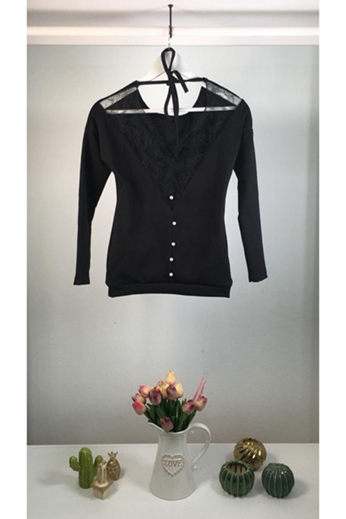 Sırtı inci detaylı dantelli akrelik bluz VS134 SİYAH