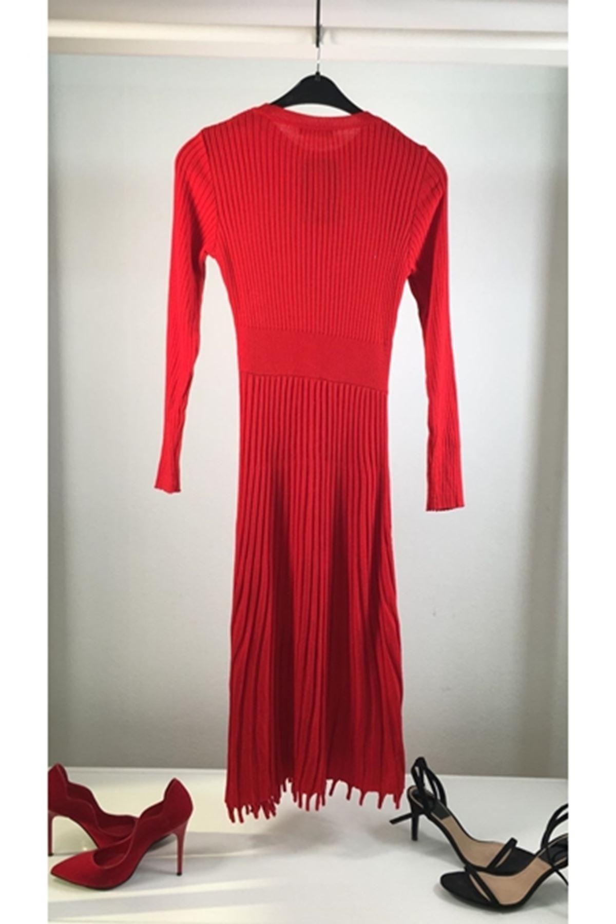 Etek pilise tasarım trıko elbise KIRMIZI