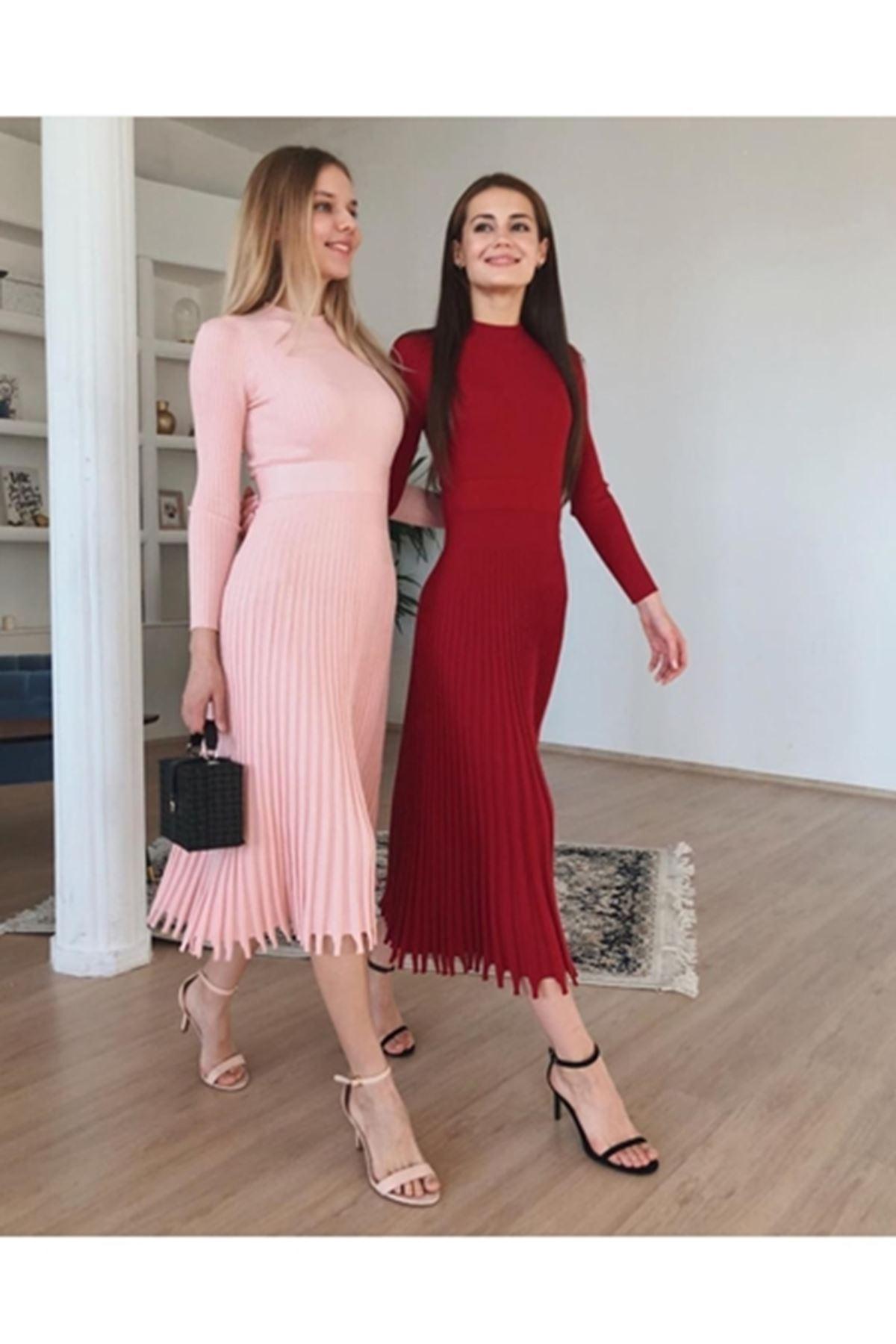 Etek pilise tasarım trıko elbise PUDRA