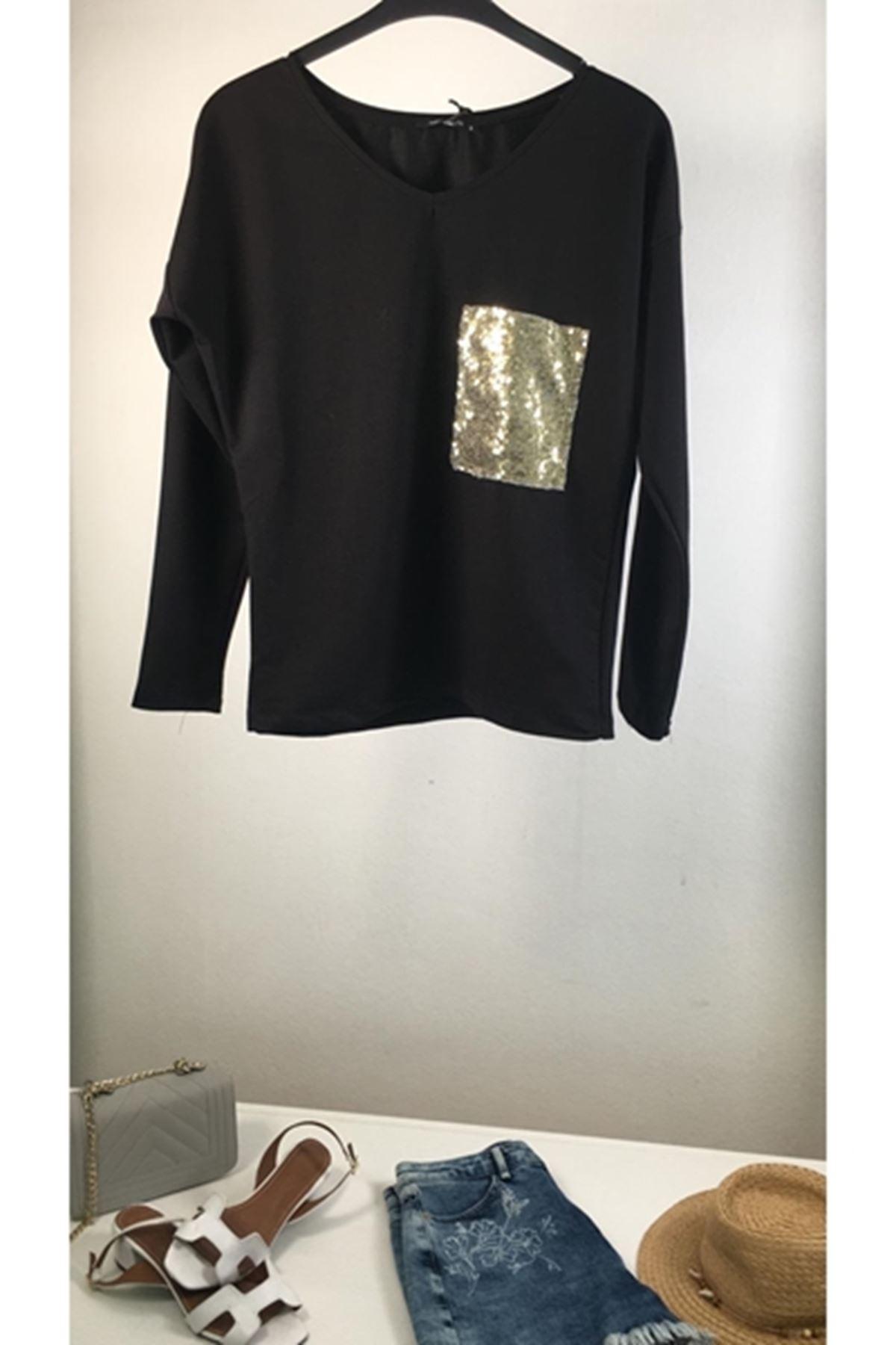 Pul payet detaylı bluz SİYAH