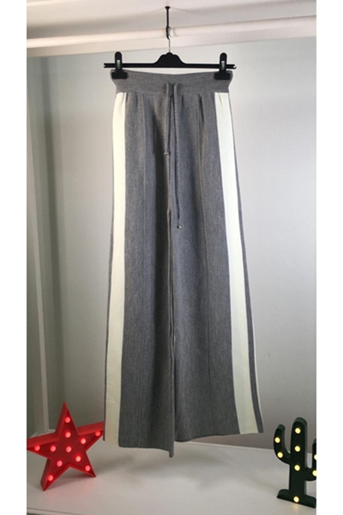 Yanı şeritli trıko pantolon K49 GRİ