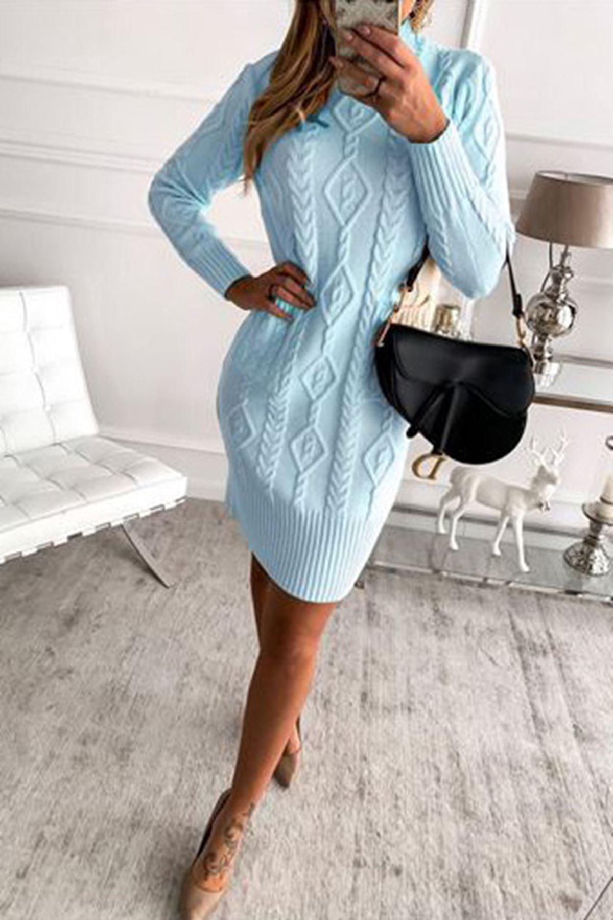 Örgü desen trıko elbise K93 MAVİ