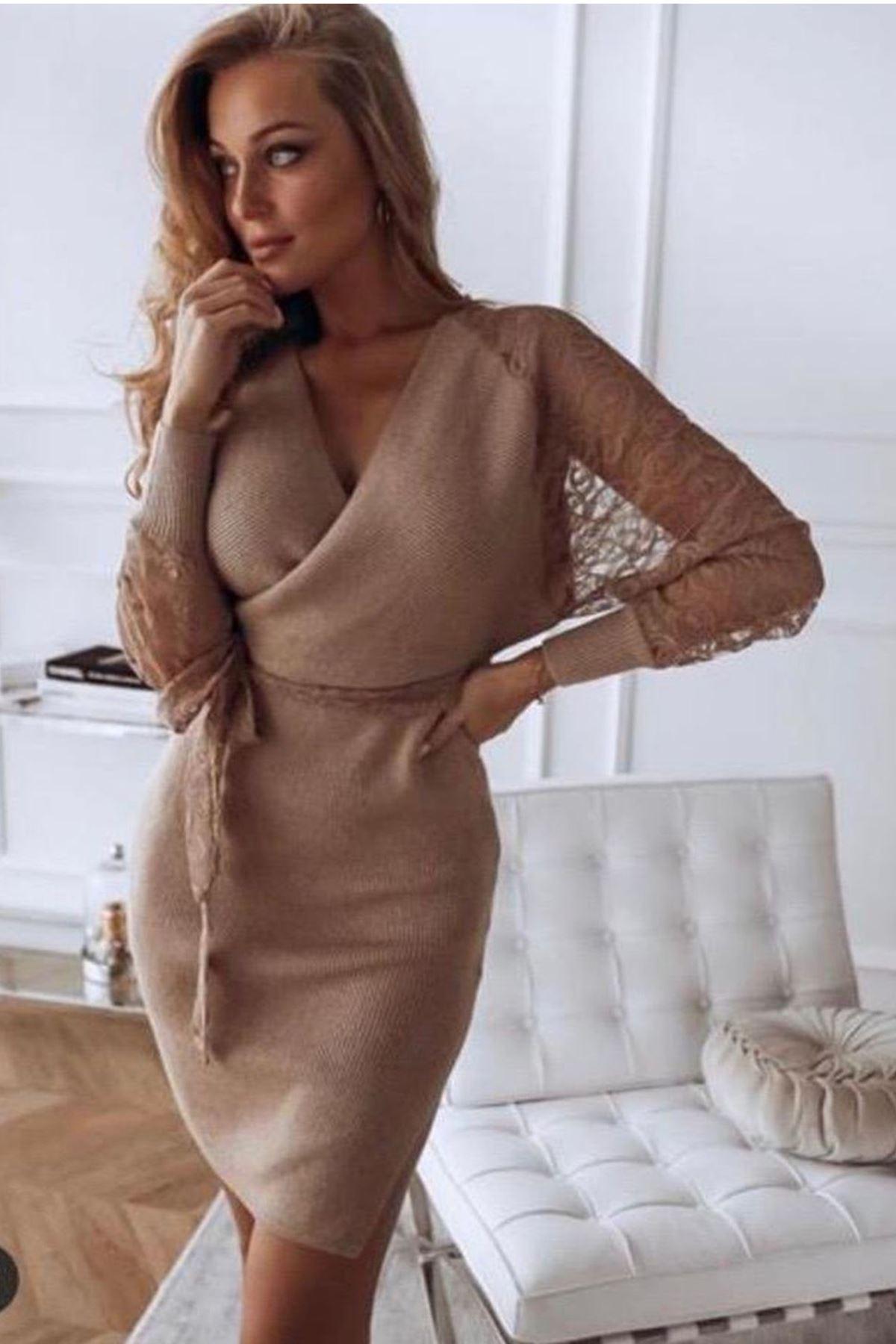 kolları güpür detay triko elbise CAMEL